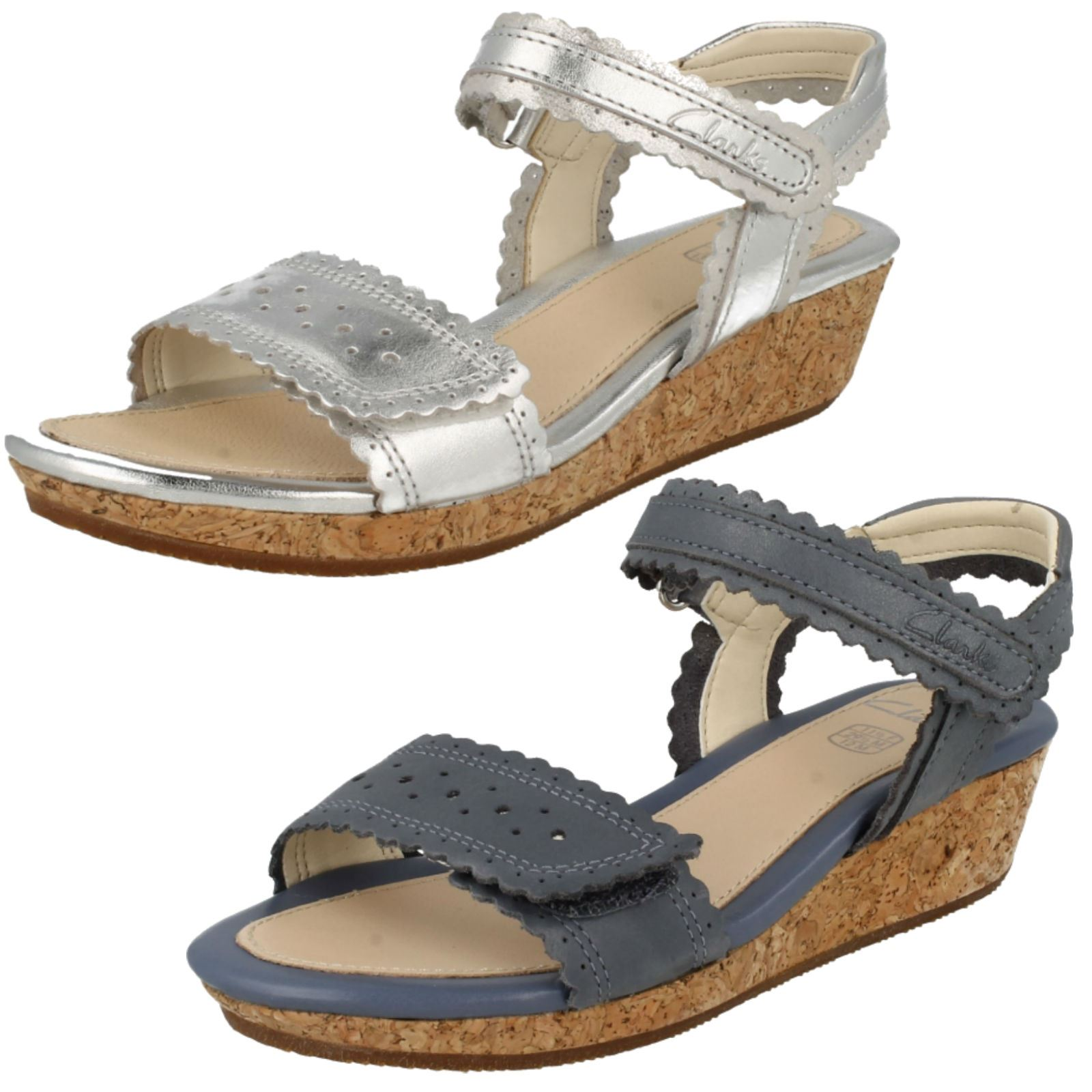 Details about Girls Clarks Wedge Heel Summer Sandals Harpy Myth