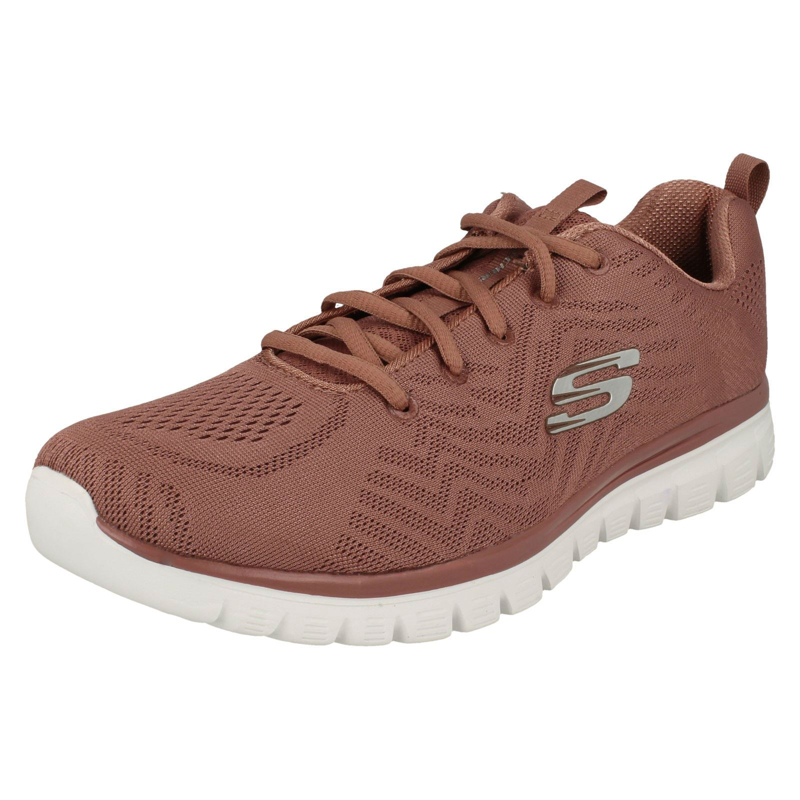 rosa señoras se Lace Trainers malva color Everyday conectan Skechers de Casual Textile Up Las O8AqdqS
