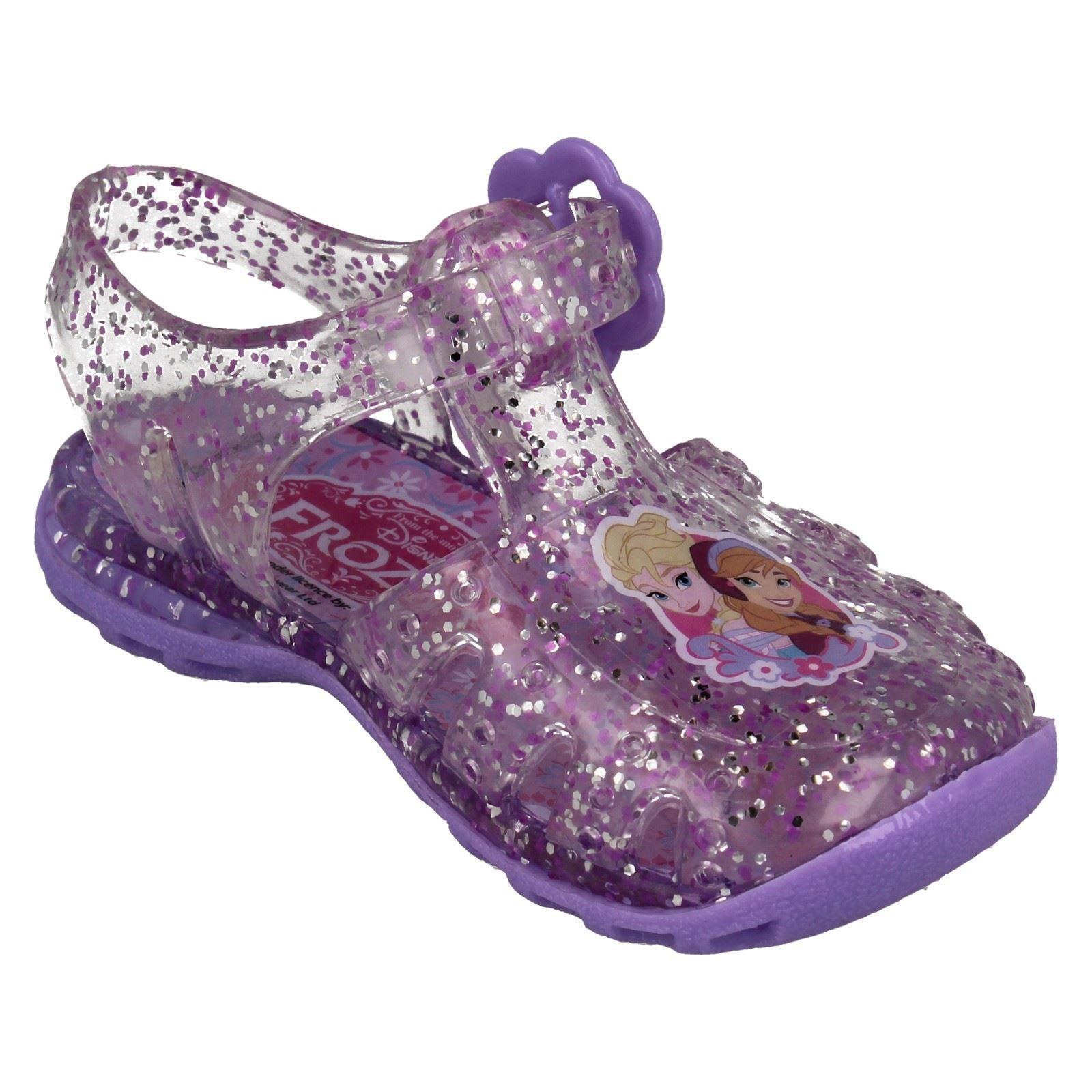 Girls Disney Princess Belle Glittery Summer Garden Beach  Jelly Shoes Sandals