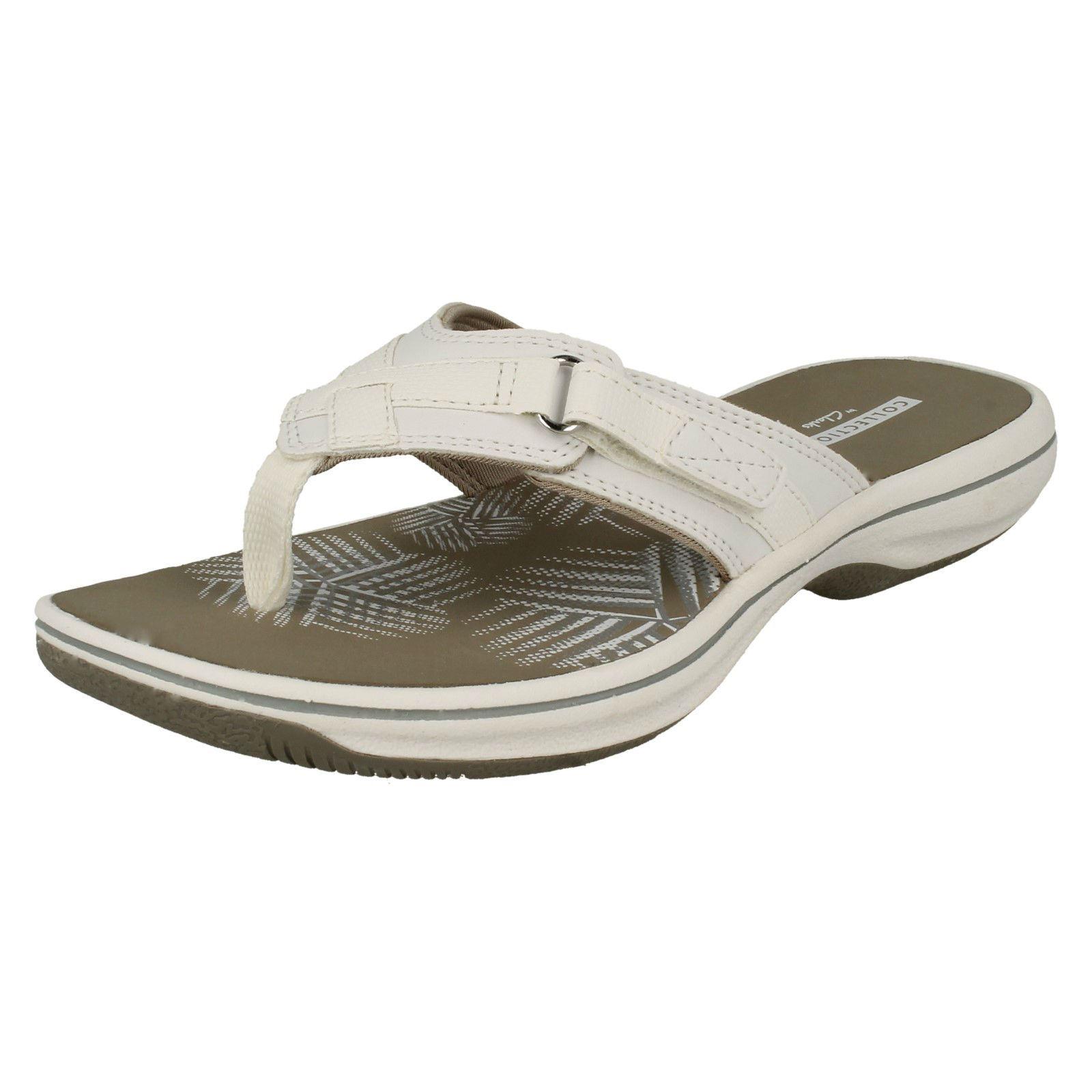 where to buy good looking big sale Ladies Clarks Toe Post Slip On Synthetic Sporty Sandals Brinkley Sea