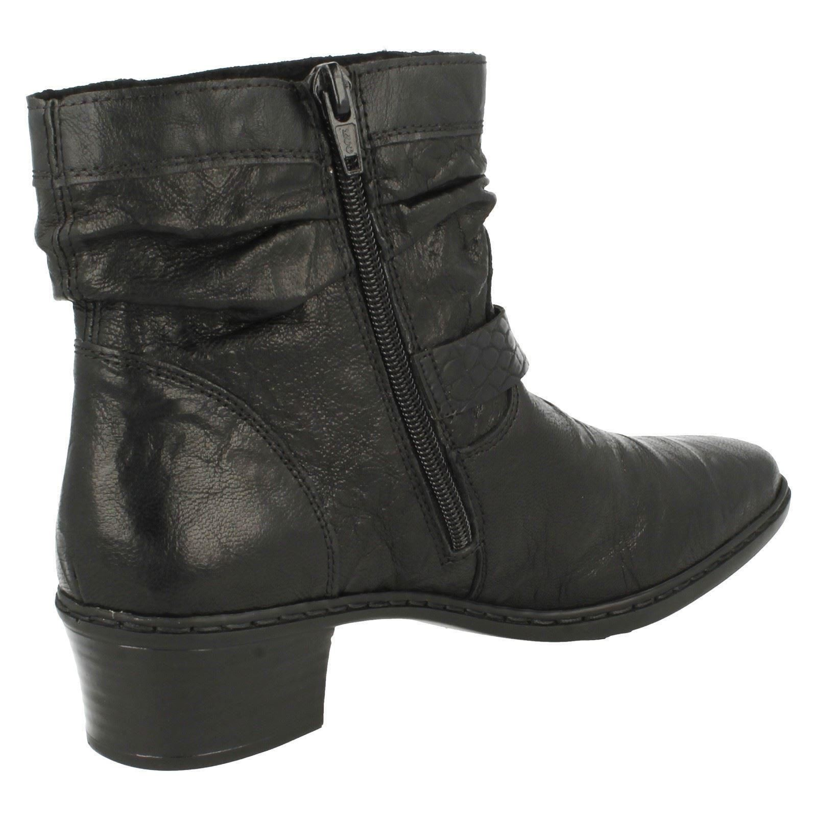 Black Rieker Boots Warmlined 74573 Ladies Textured Ankle HwaT7dYq