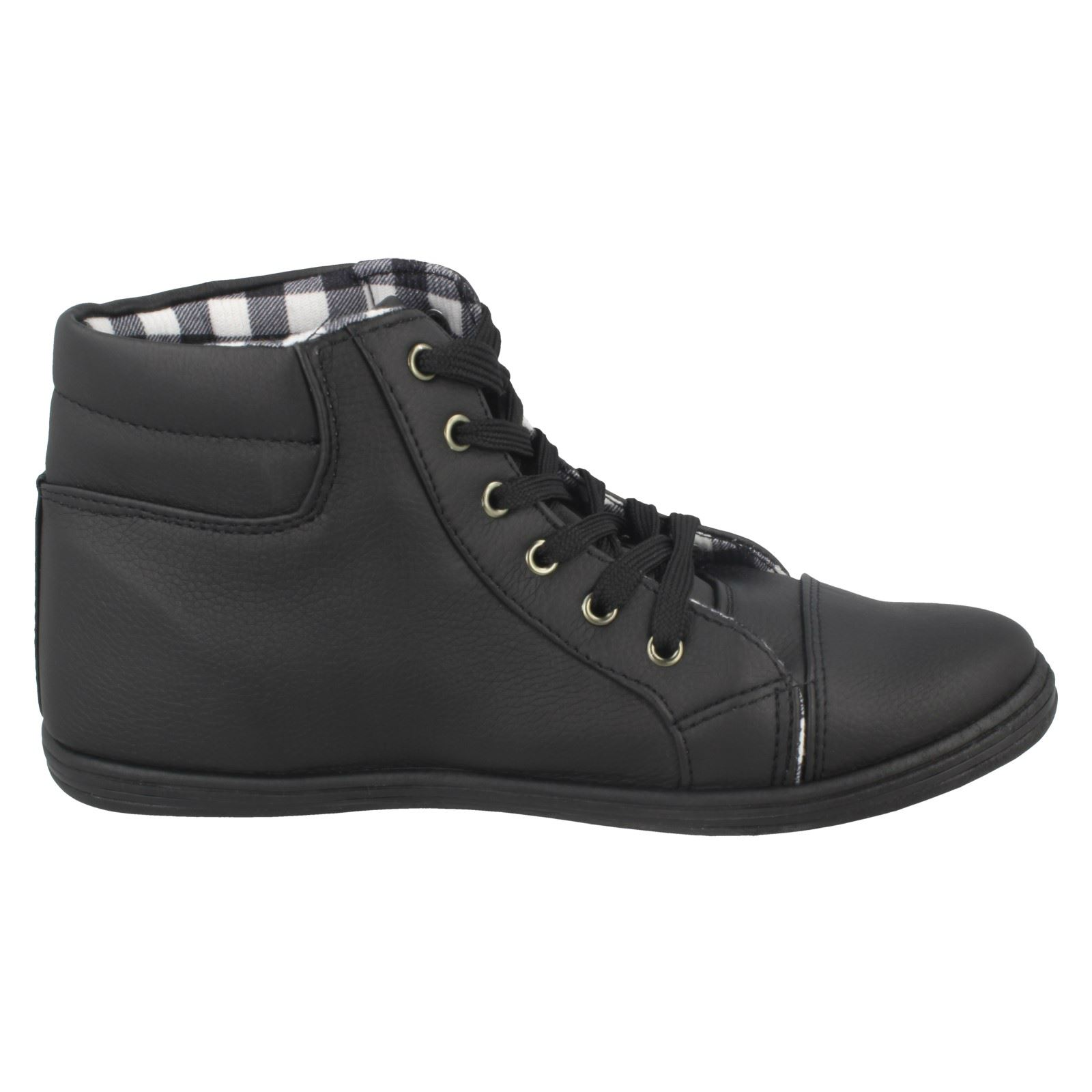 Ladies Spot On Studded Lace Up Ankle Boots