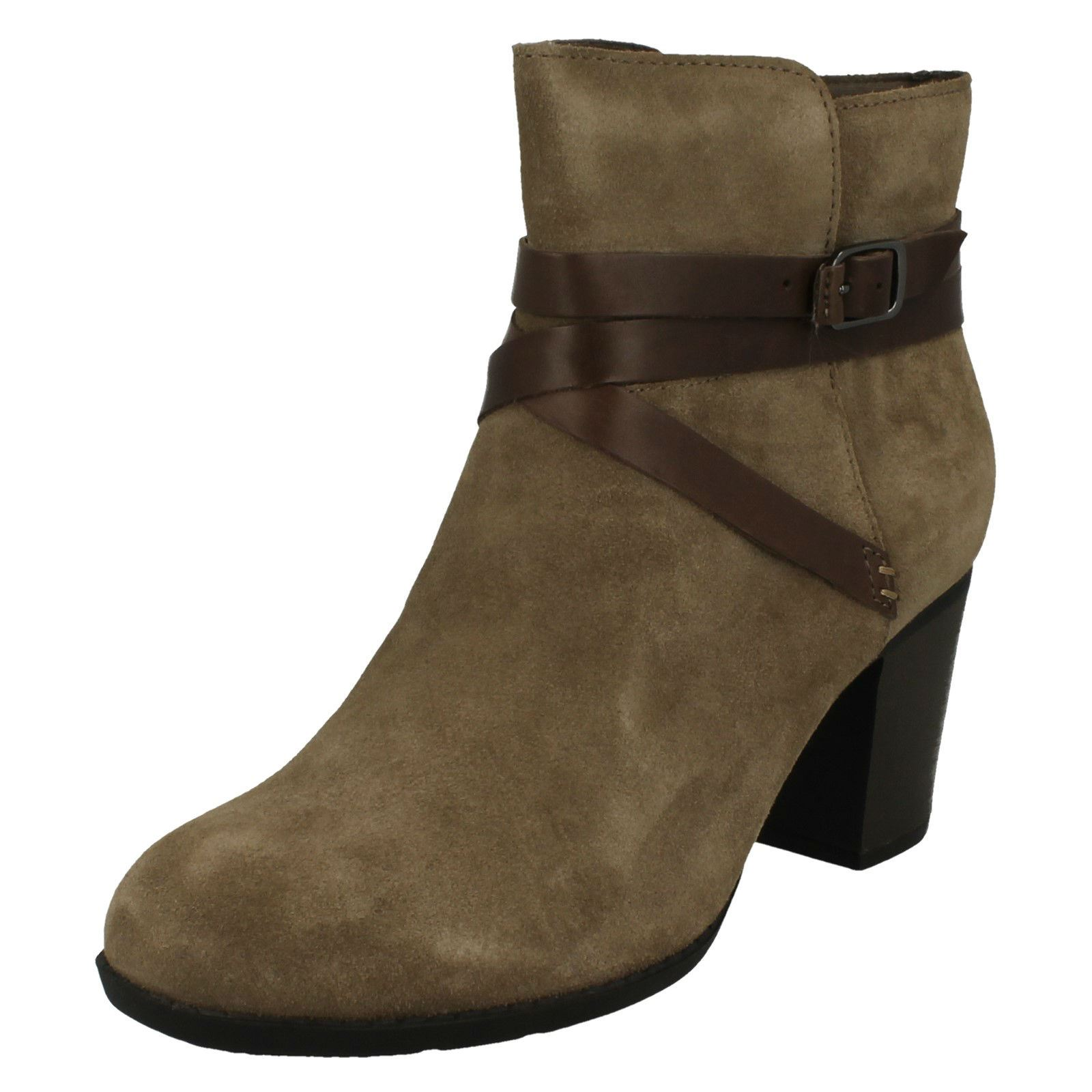 Clarks Brown Suede Enfield Tess Seam Detail Ankle Boots NEW