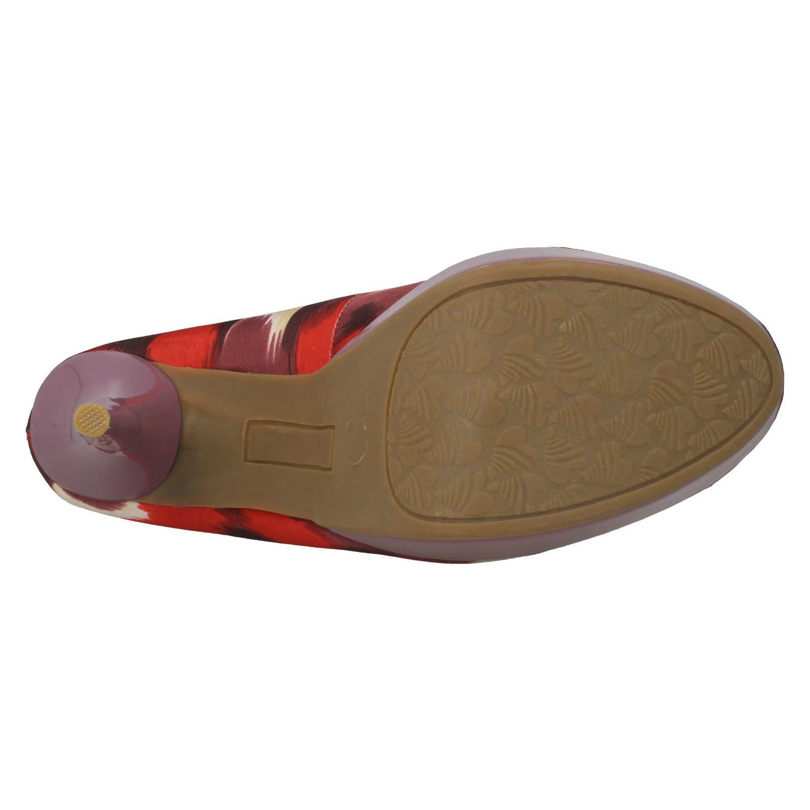 Señoras punto en la plataforma de tacón alto puntera abierta Court Shoe