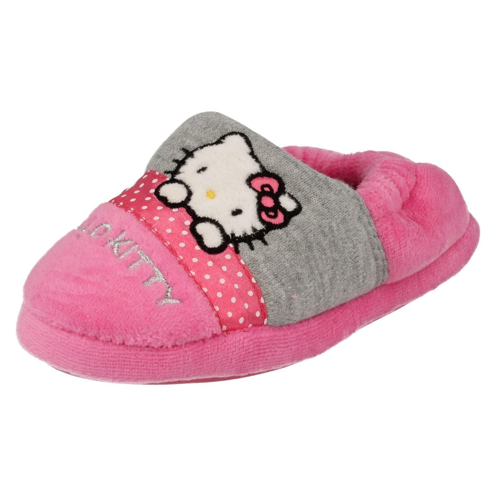 Junior Infantil Niñas Hello Kitty Gris y Rosa Resbalón en Zapatillas Completo-persa