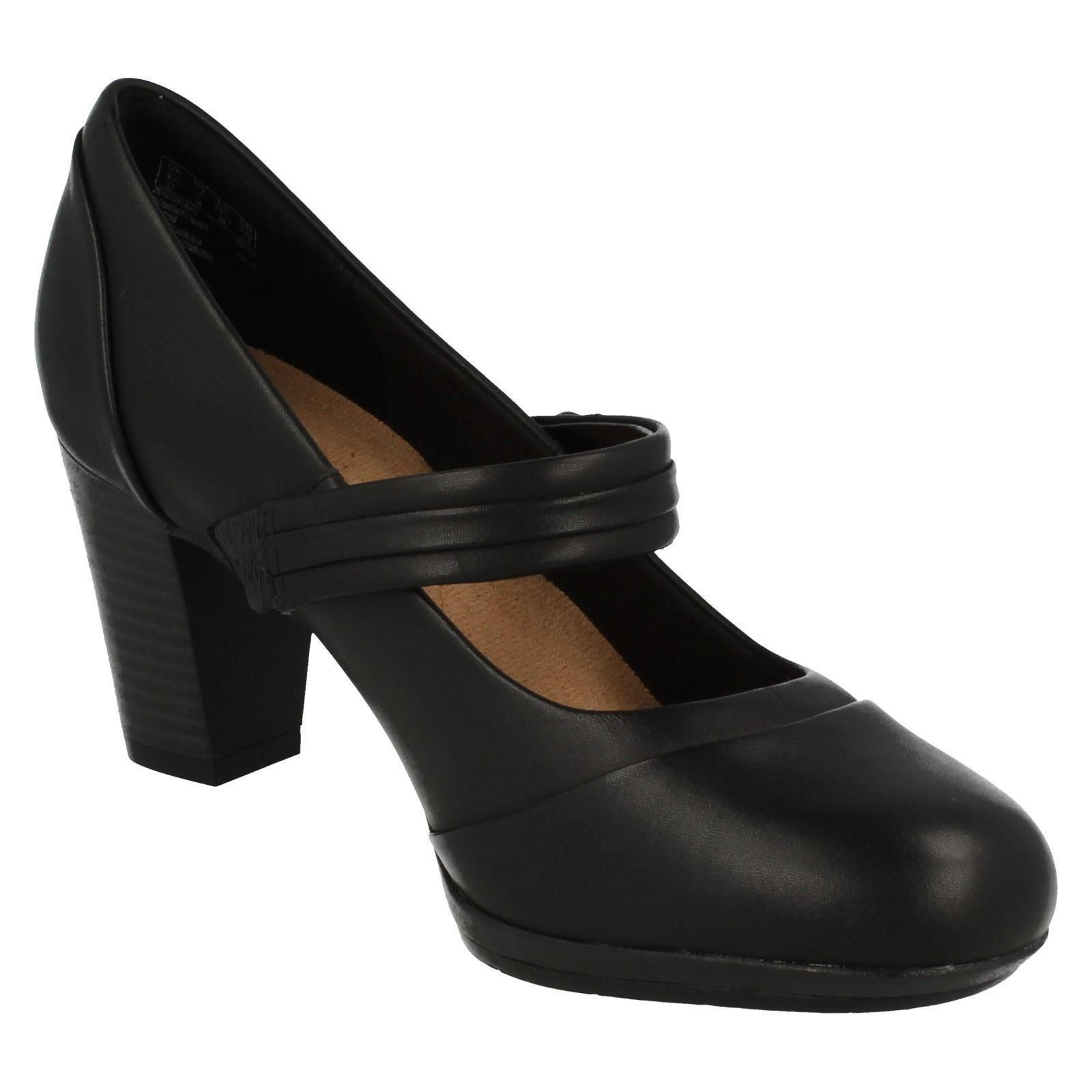 Ladies brynn Smart Clarks Mare Nero Heeled Shoes FwOzqxpF