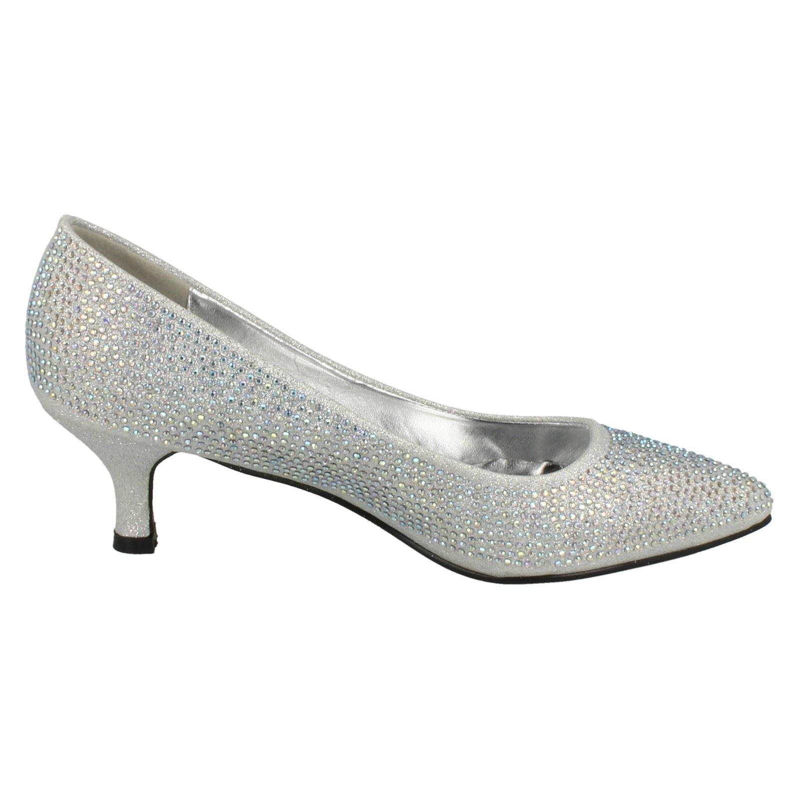 Ladies-Anne-Michelle-Diamante-Low-Heel-Court-Shoes thumbnail 34