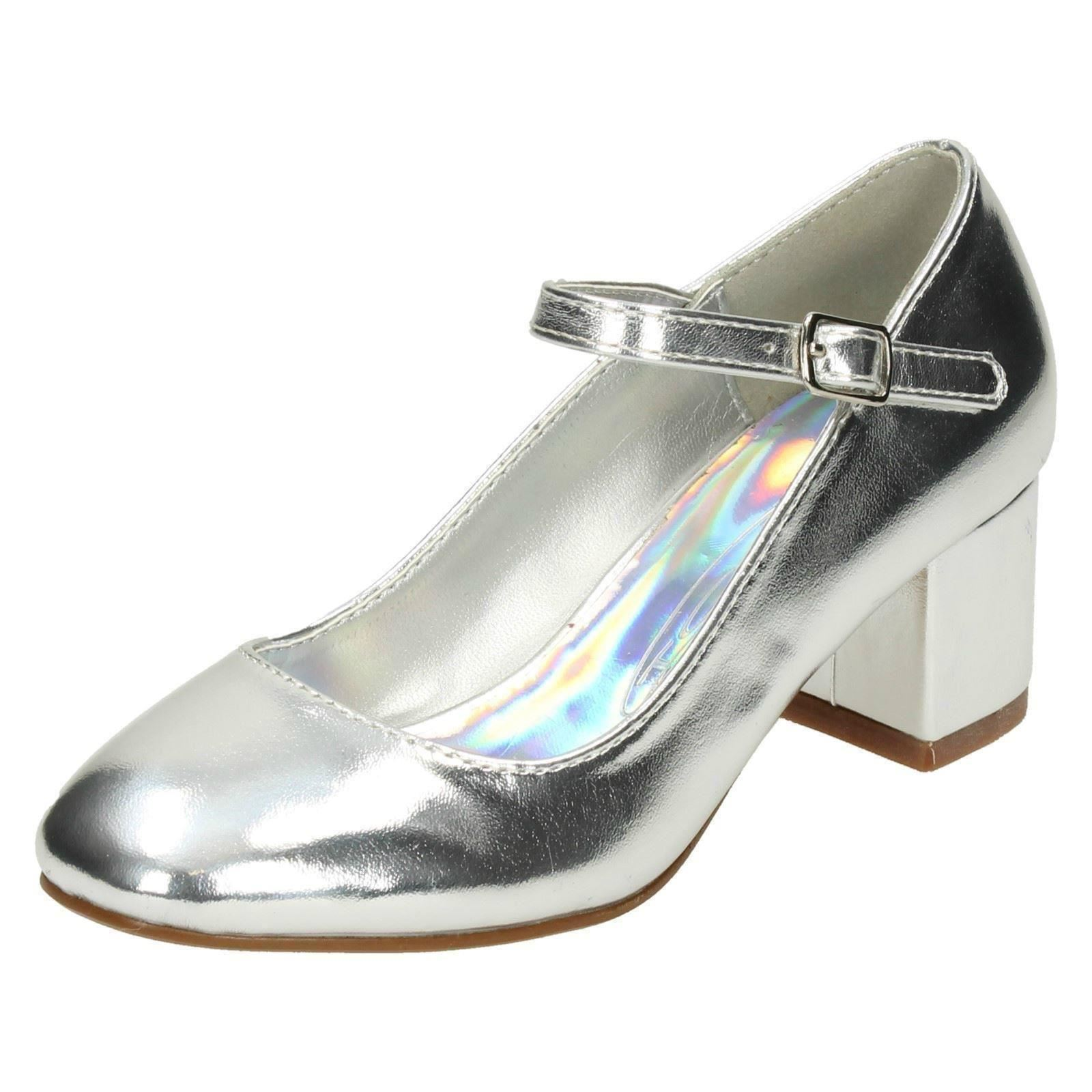 ab100a9f5ae Girls spot on blocked heel dolly shoes silver infant jpg 1600x1600 Heel  dolly