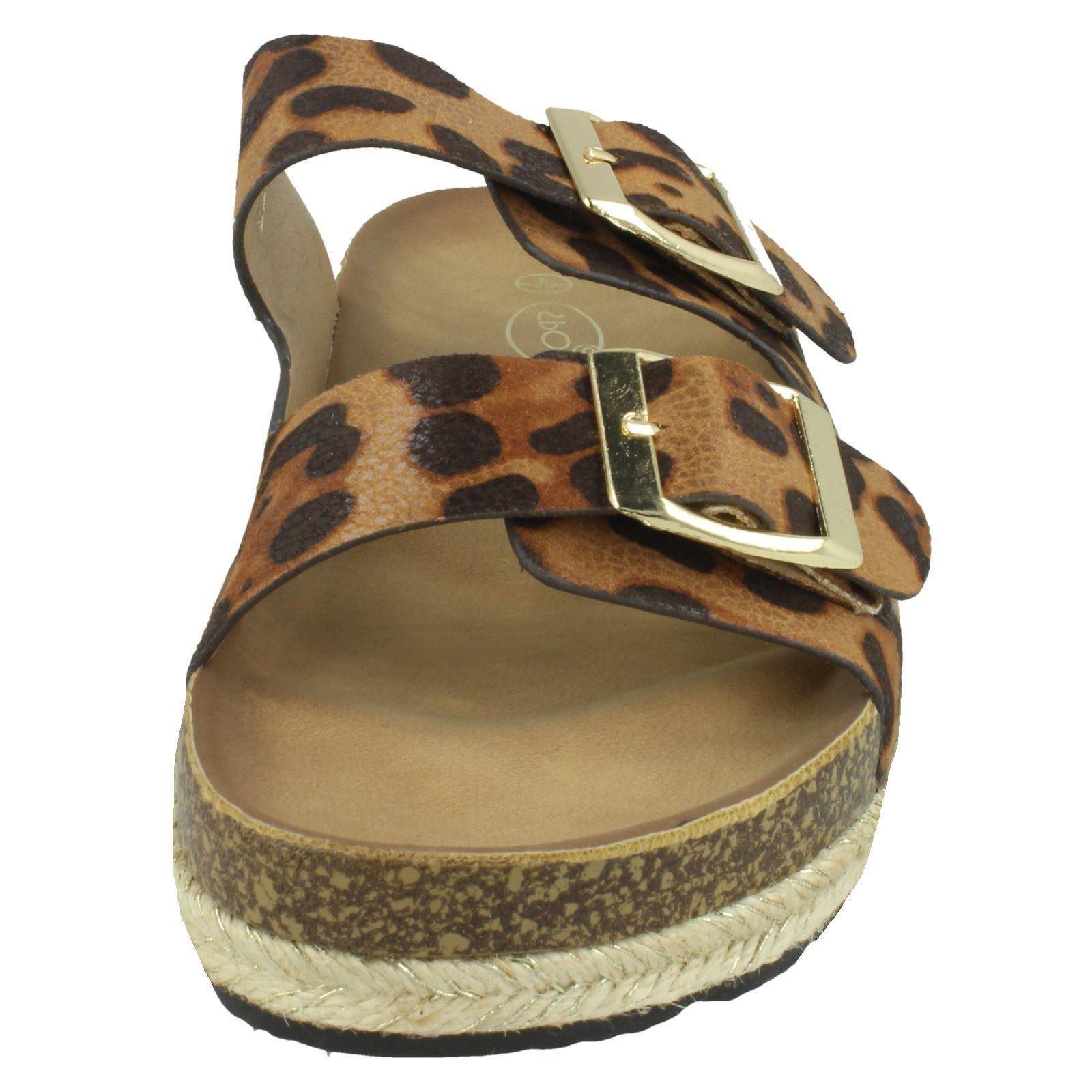 Ladies Spot On Leopard Print Mules