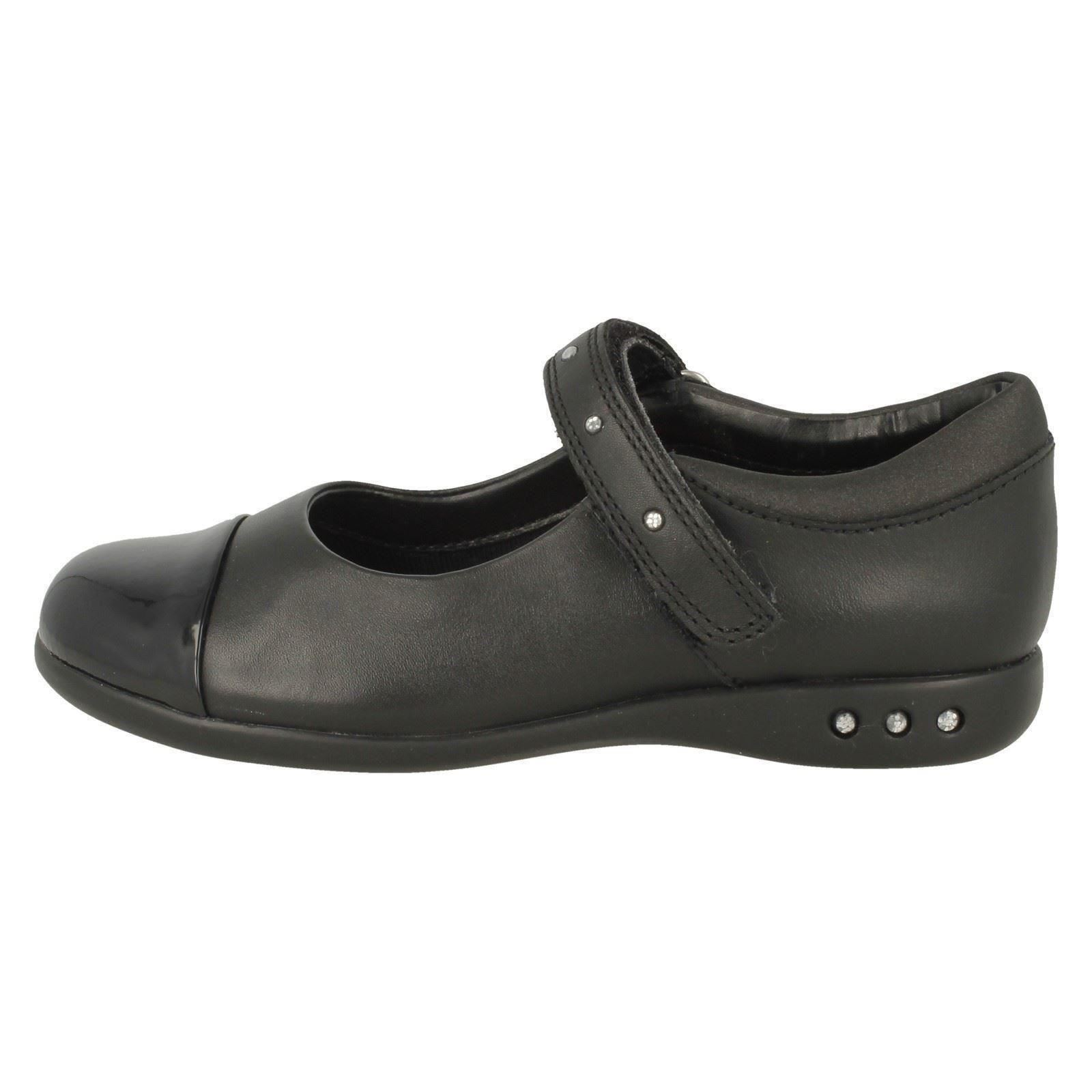 Negro Walk' Strap 'prime Las niñas School Clarks Shoes Studded qS6Bw8v