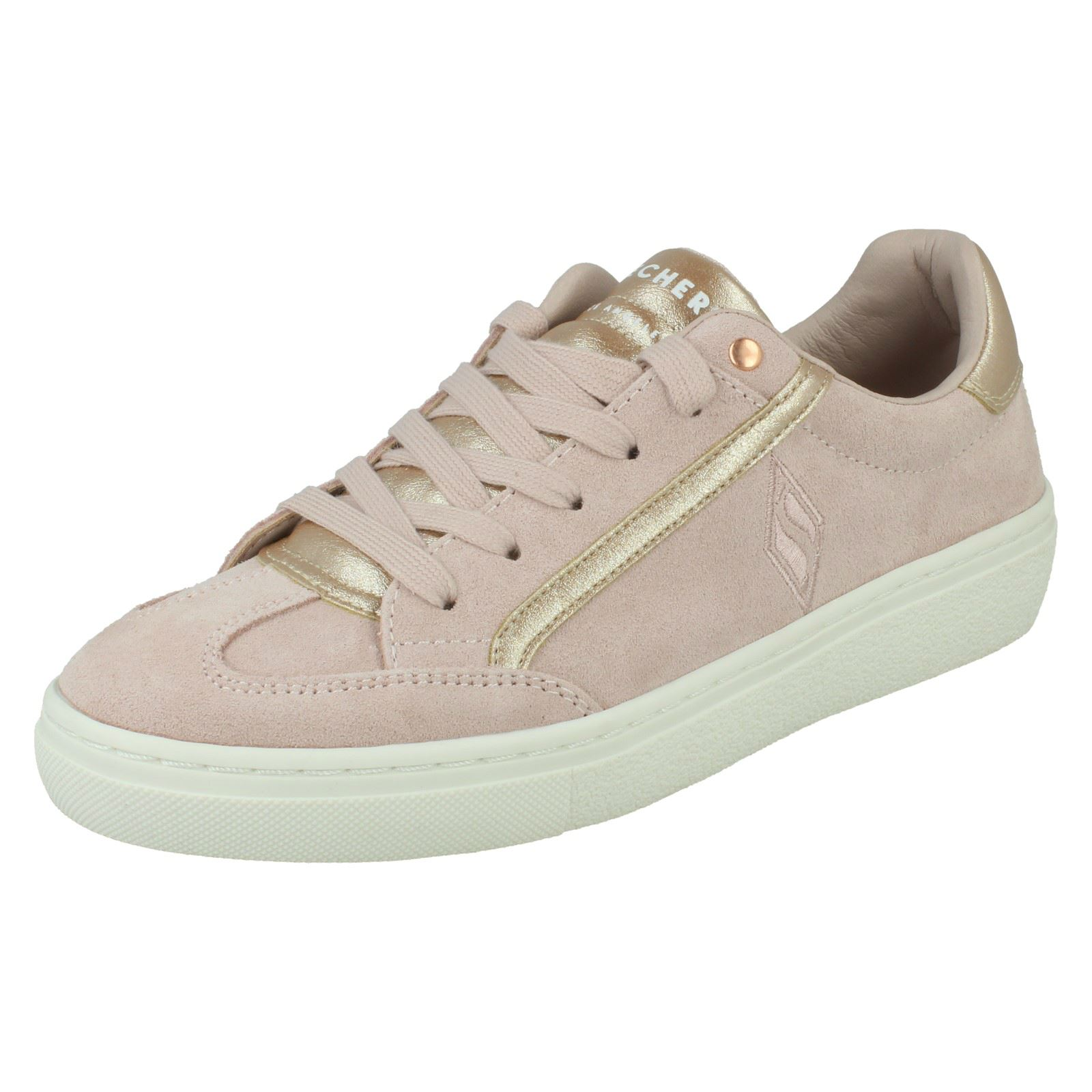 Skechers Femmes Lacets Baskets Décontractées-Pop Shine 74298 Light Pink/Rose Gold (Pink)