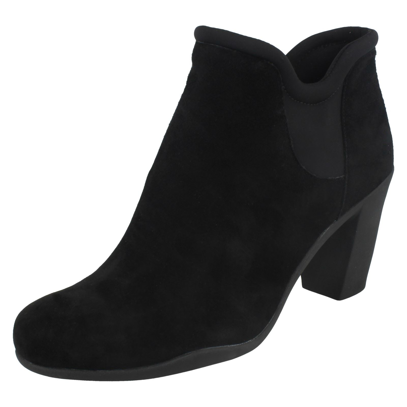 Ladies Clarks Leather Pull On Heeled Leather Clarks Ankle Boots Adya Bella b91a43