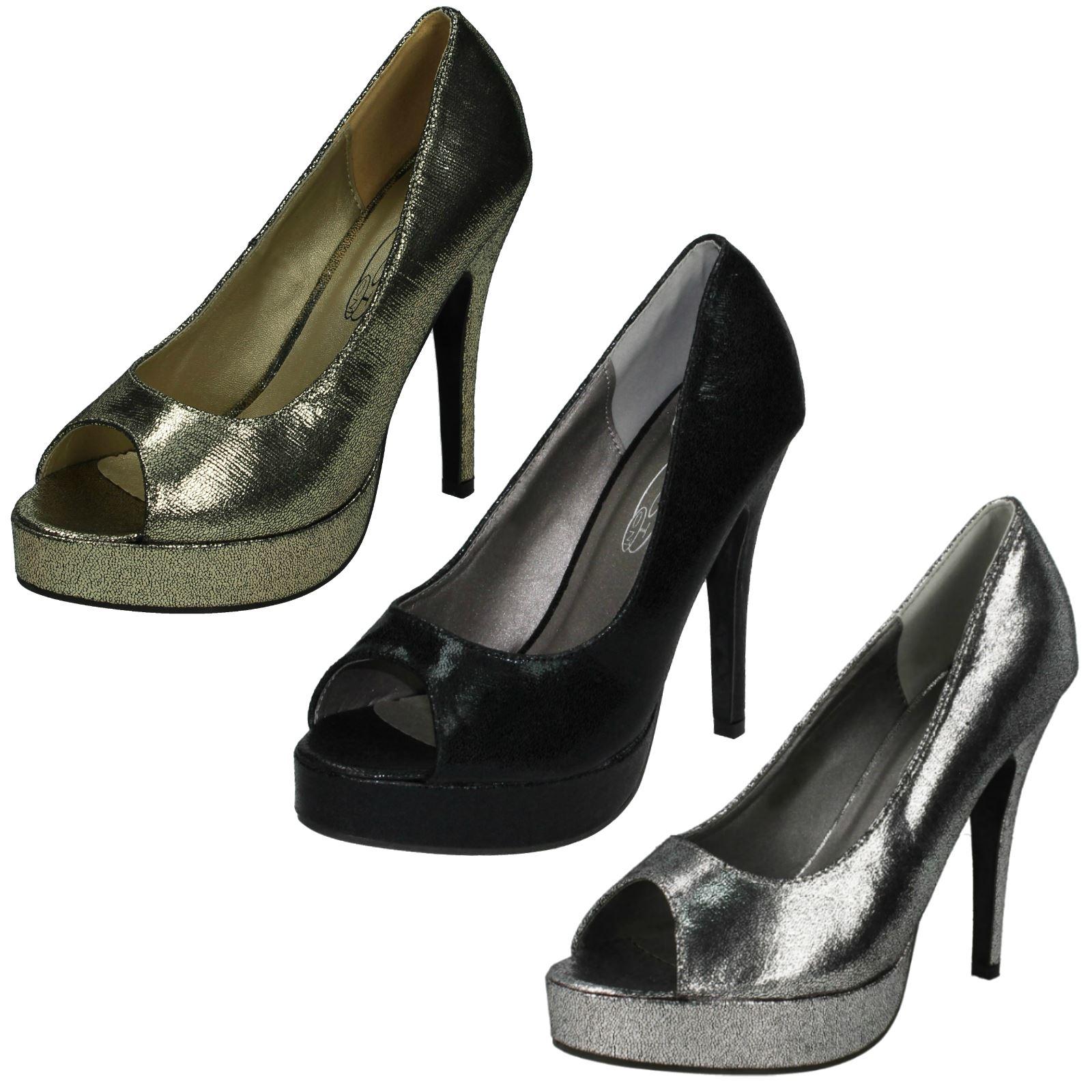 Ladies Spot On Peep Toe High Platform Heels