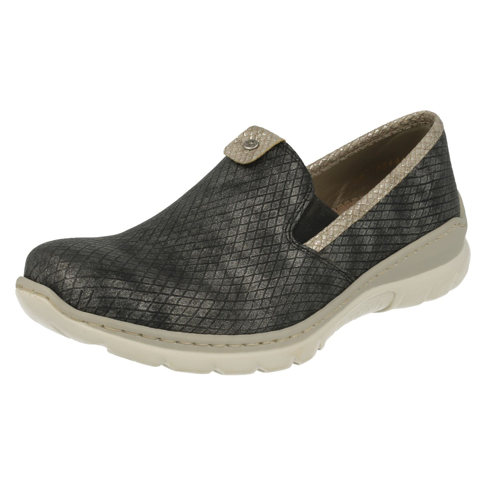 Combi scarpe L3272 Grey Ladies Rieker Slip Casual On fxw4vOq