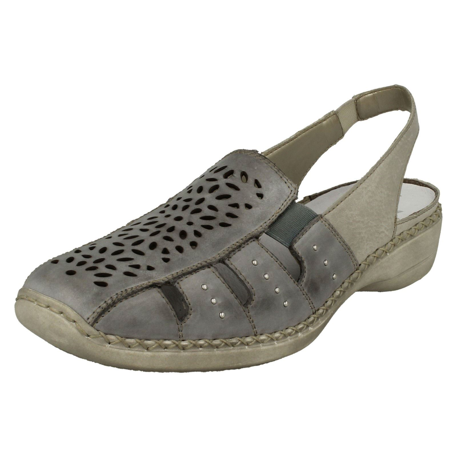 Details about Rieker 41390 62 Ladies Womens Leather Wedge Slingback Summer Shoes Taupe Biege