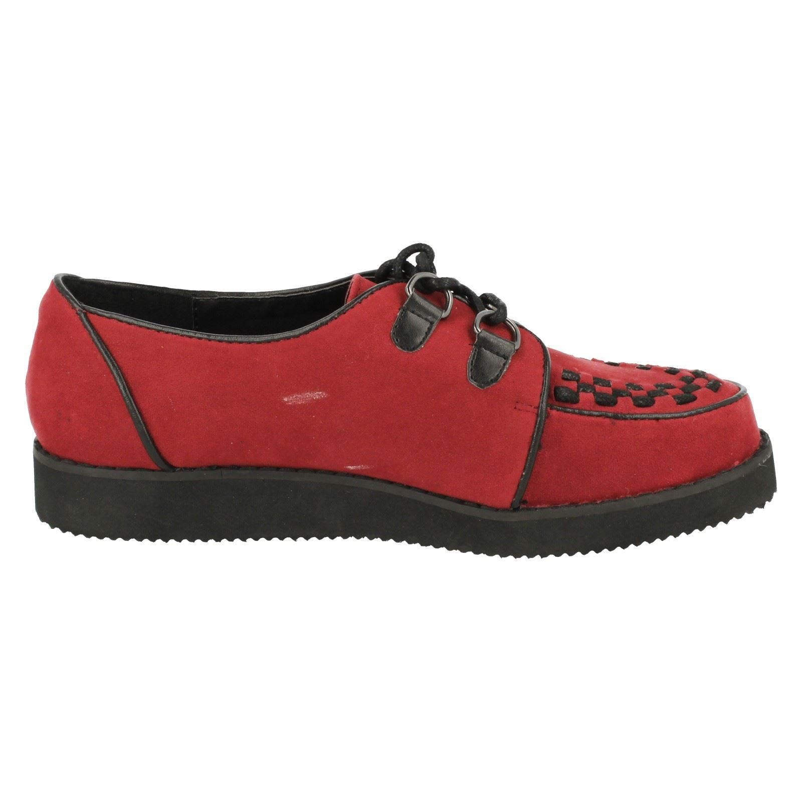 db6e40bc5d6 Ladies Spot on Chunky Sole Shoes F9568 Red UK 5 Standard