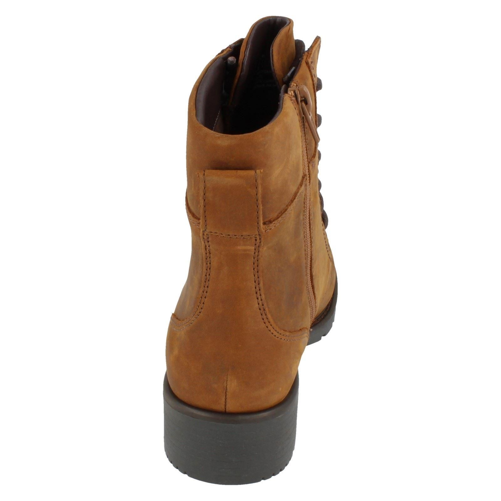 Ladies-Clarks-Casual-Lace-Up-Inside-Zip-Nubuck-Leather-Ankle-Boots-Orinoco-Spice thumbnail 14