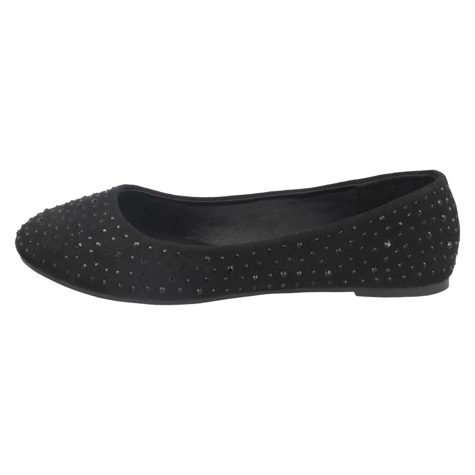 Damas Spot on Flat Diamante Bailarinas
