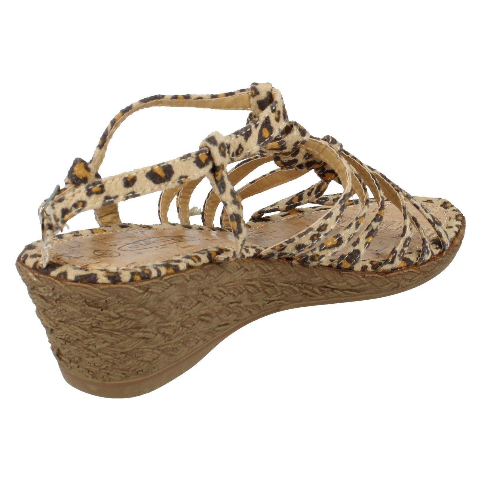 Spot On Ladies Leopard Print Wedge Sandals  F10037