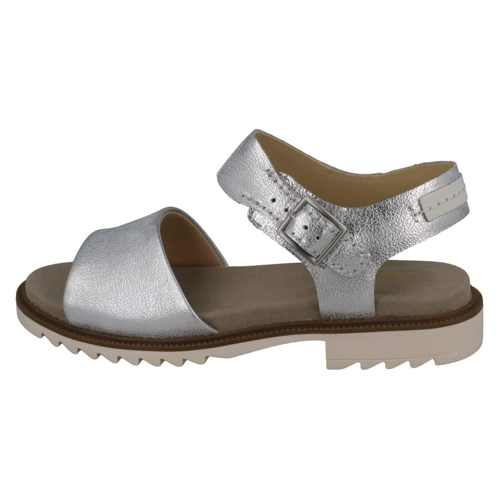 Details about LADIES CLARKS FERNI FAME LEATHER OPEN TOE BUCKLE SMART CASUAL FLAT SUMMER SANDAL