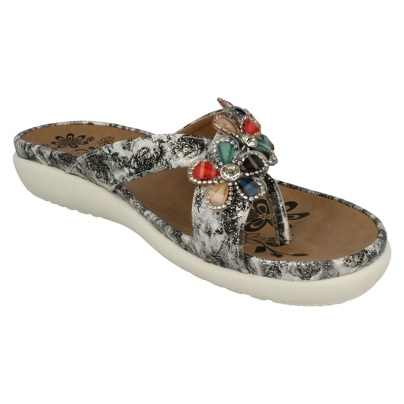 Grey Slip Elegant On Ladies Sandal Toe Rieker Mule Post V9591 z7qxTFx
