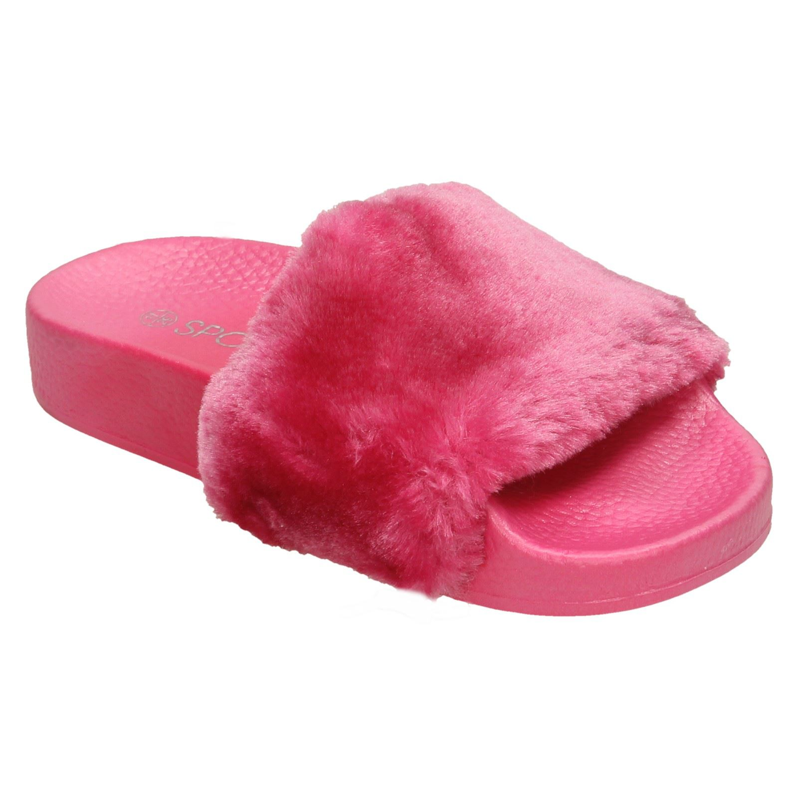 Girls Spot On Slip On Faux Fur Slider Mules