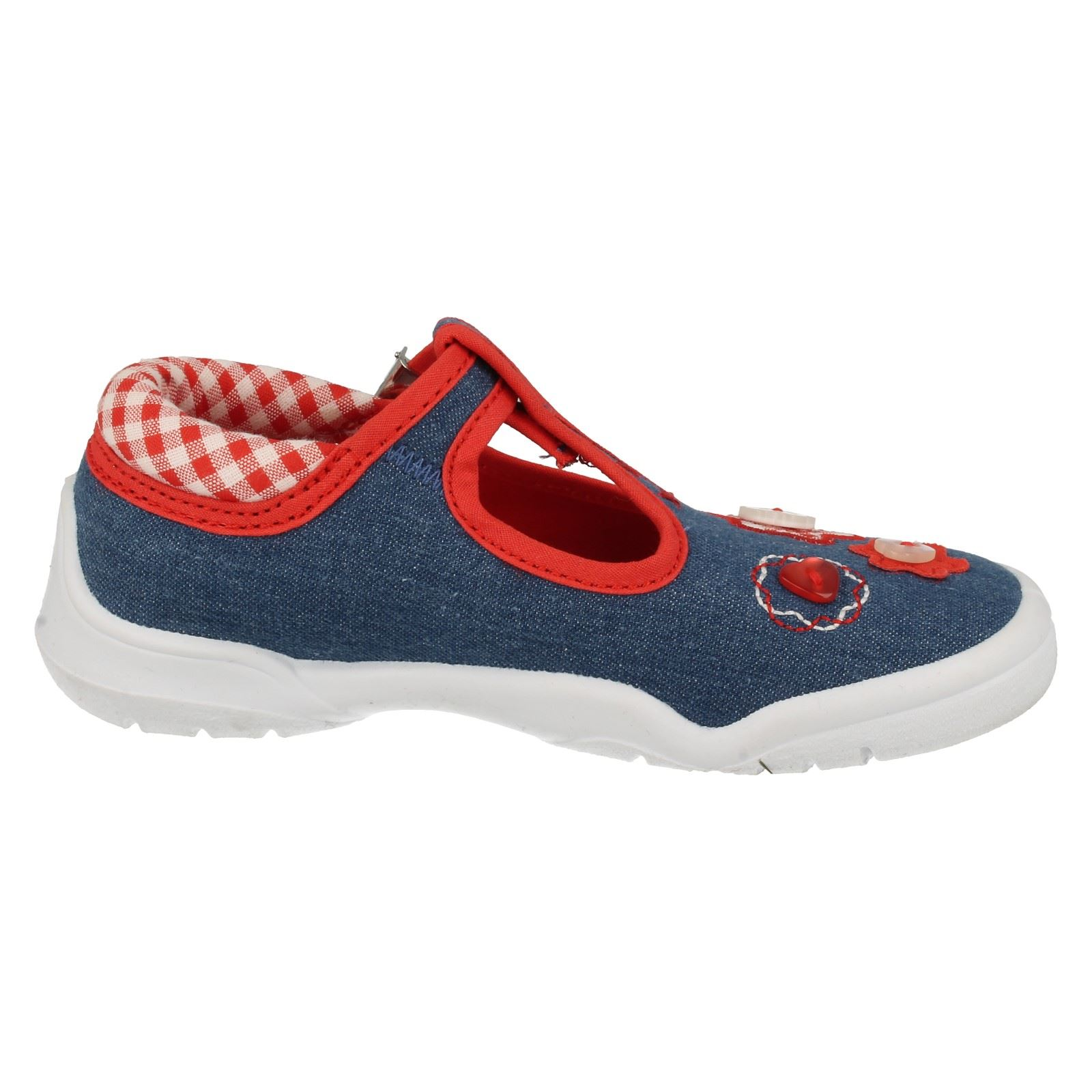 Girls Startrite Canvas T-Bars Buttons