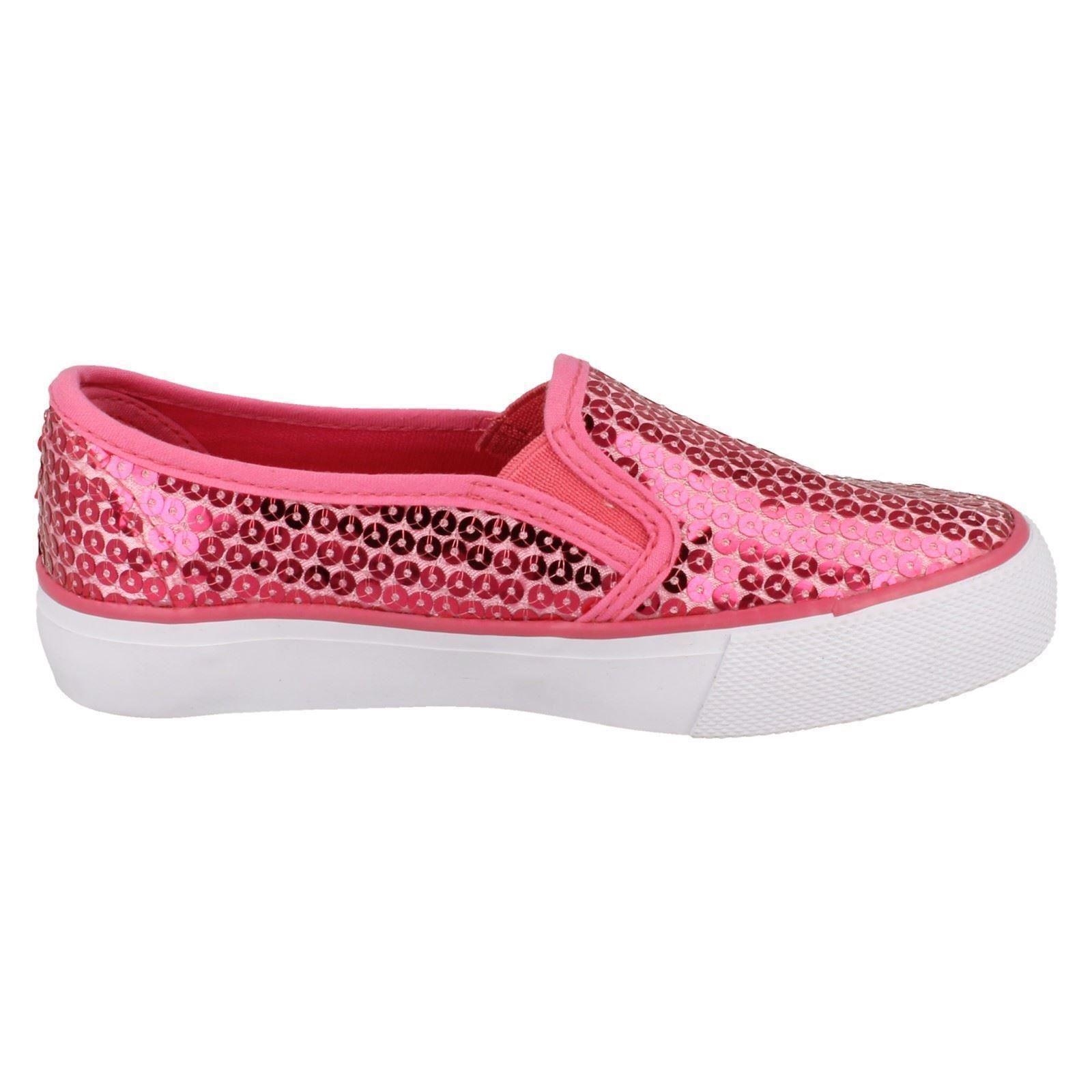 Niñas Punto en Casual Zapatos Slip On-con lentejuelas