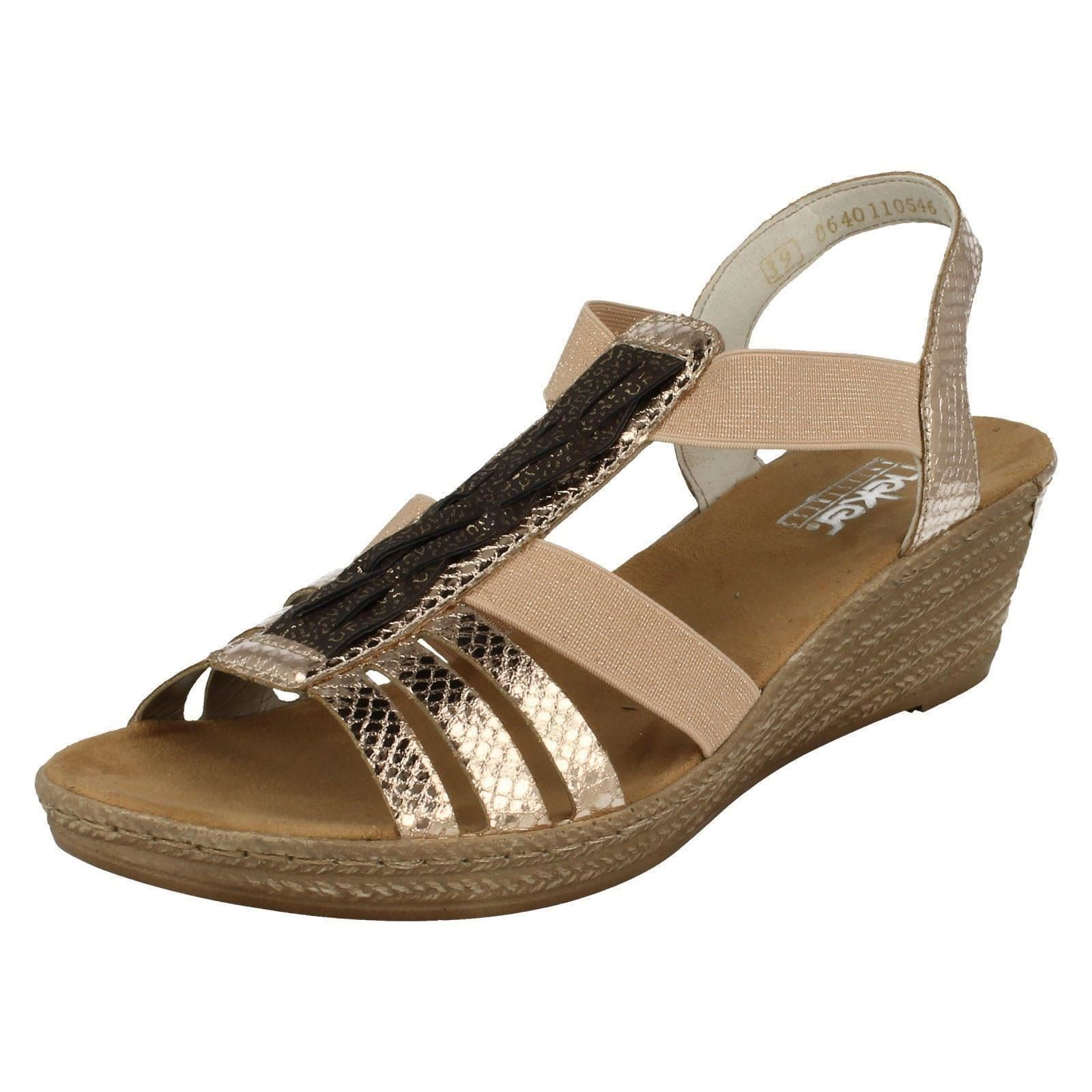 07d0105fa572 Details about Ladies Rieker Casual Wedge Summer Sandals 62479