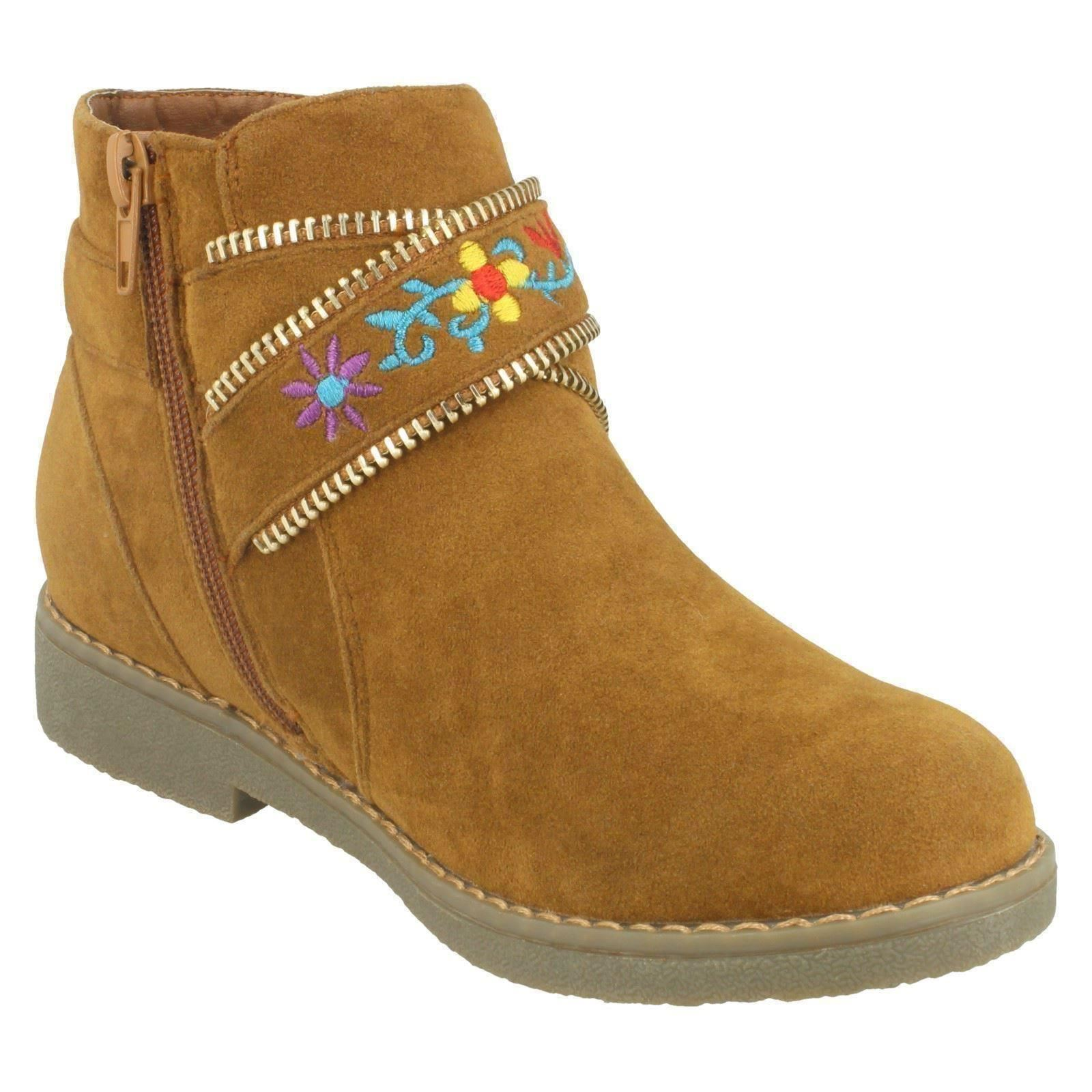 Spot On Girls Flat Zip Up Suede Ankle Boots