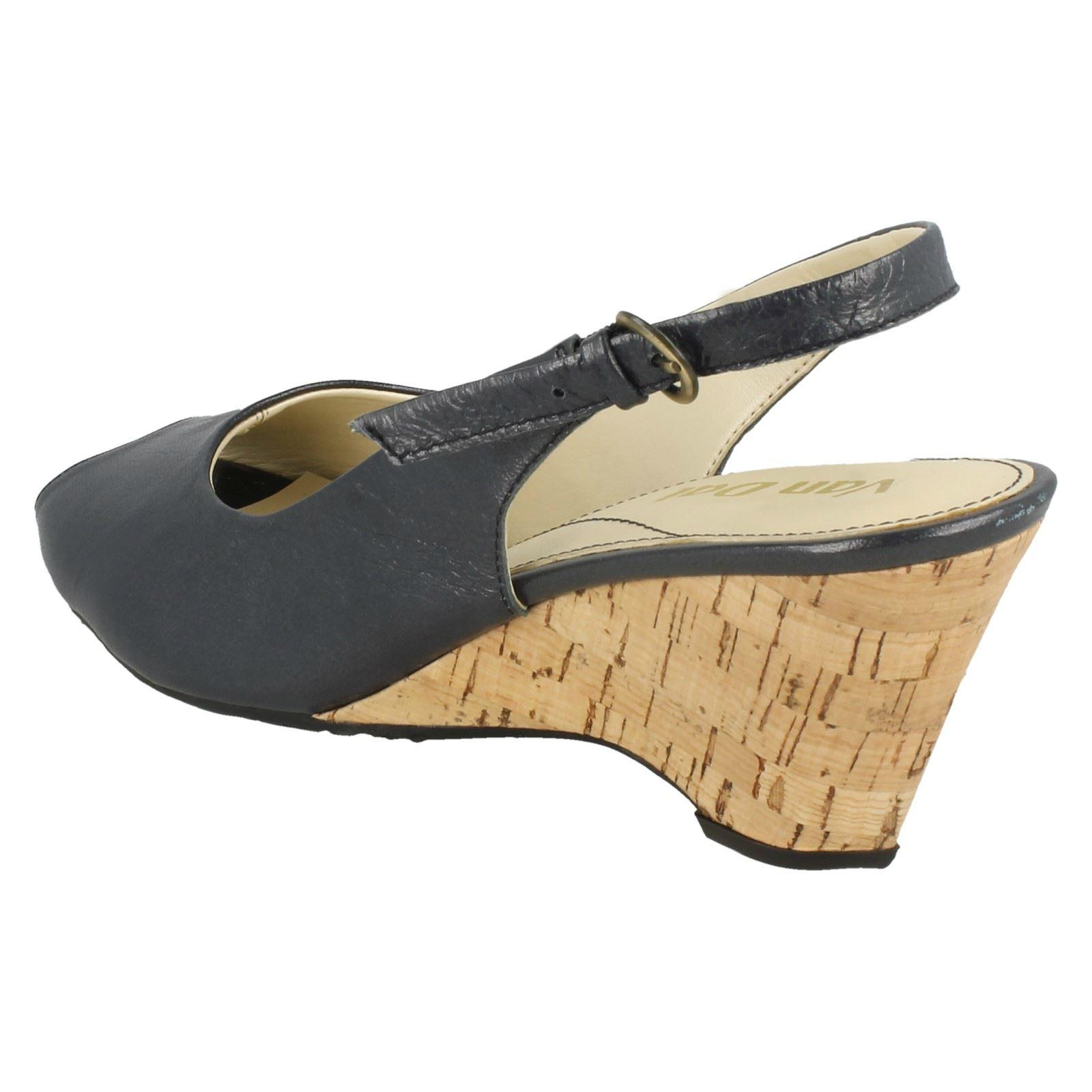Van Ladies Wedged Cadiz Buckled Leather Navy Toe Sling blue Back Peep Sandals Smart Dal drfwqBrZ