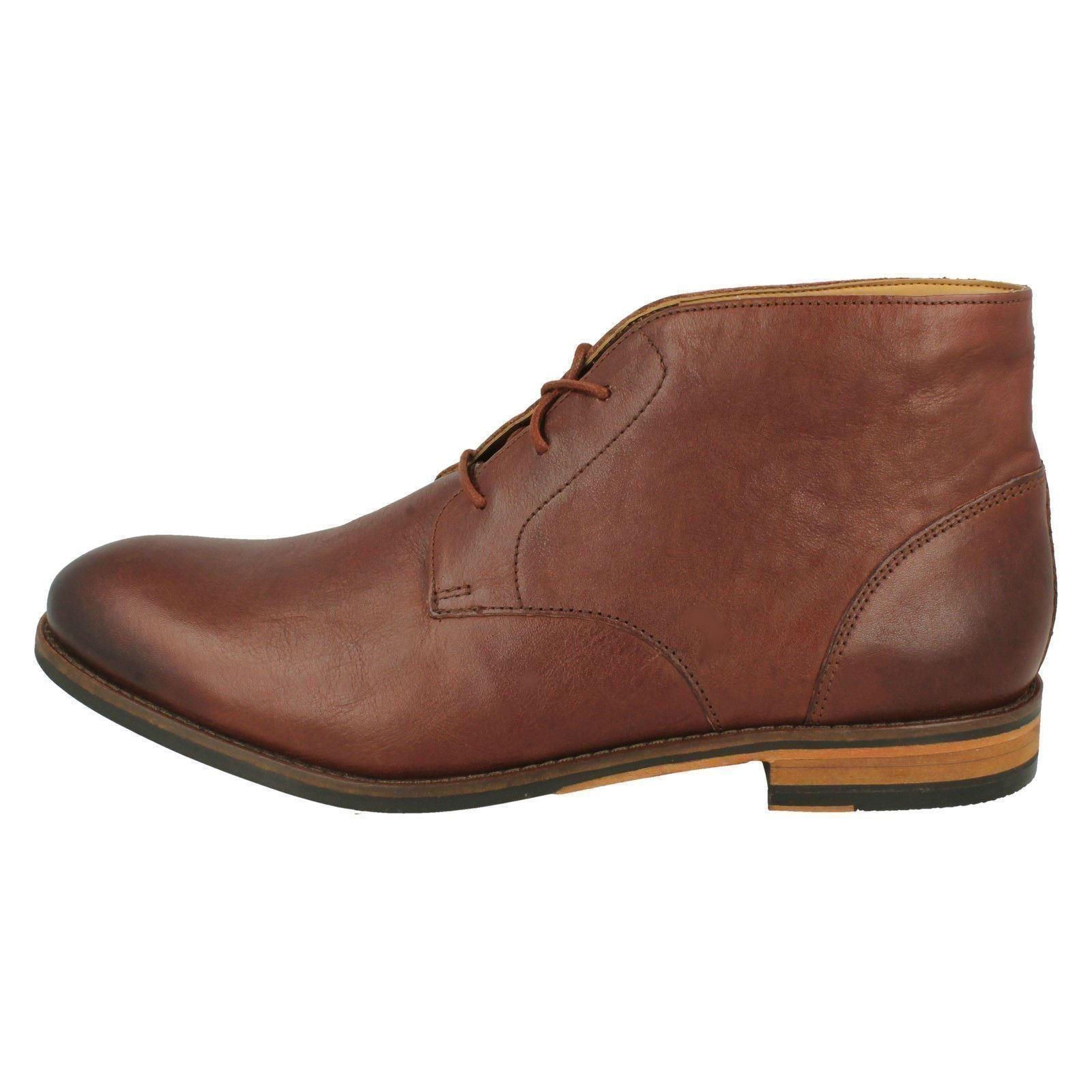 Tan brown hombre Clarks cordones British punta de Flow con cordones con con Top y Botas cuero redondeada para xTanqYX