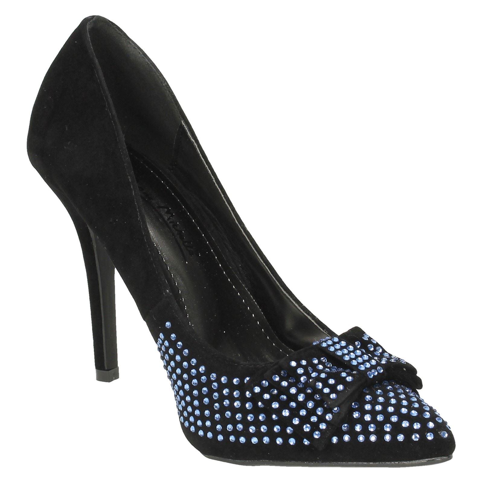 Anne Michelle Señoras Diamante Detalle De Moño Fiesta Zapatos