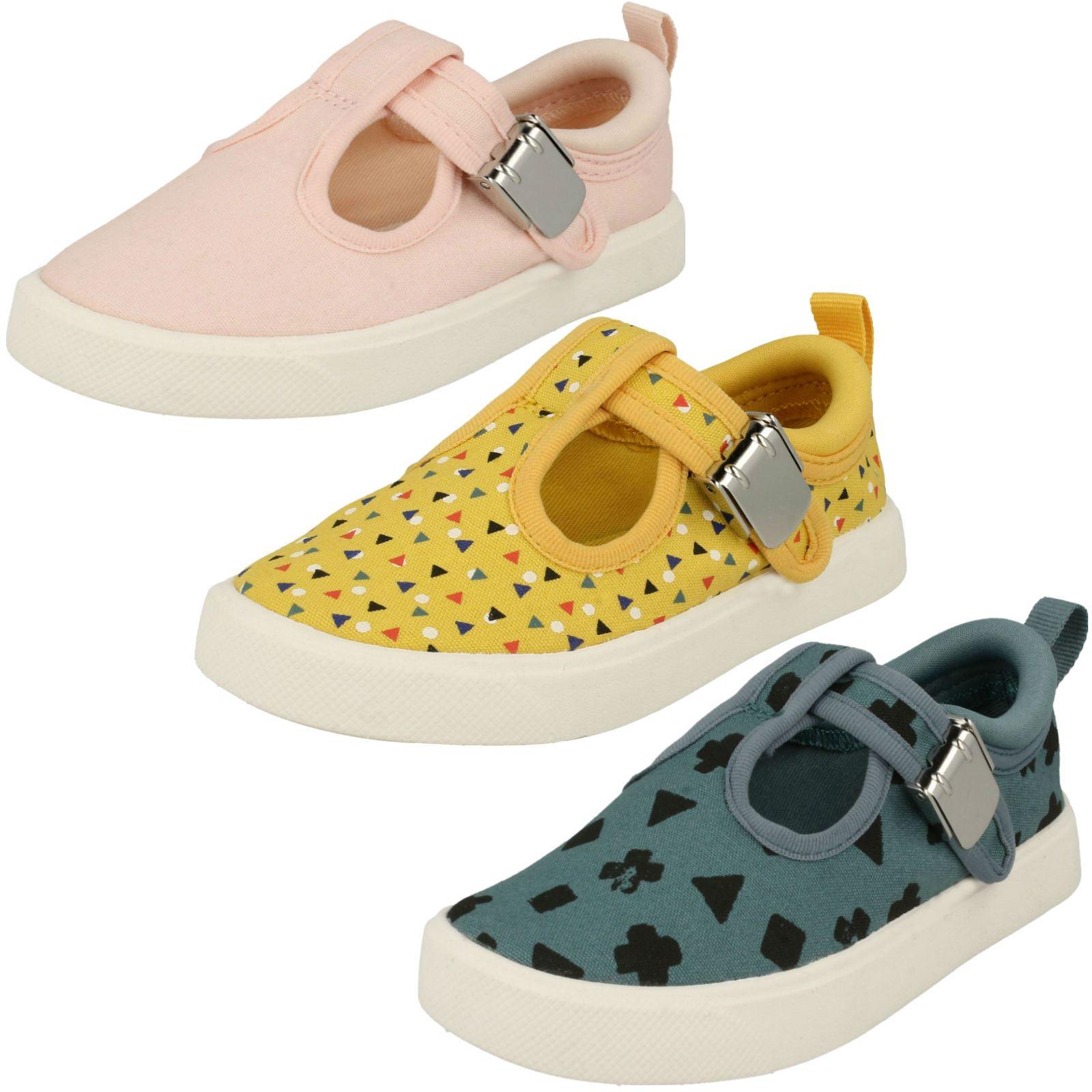 Childrens Boys Girls Clarks T-bar Canvas Shoes *city Spark*