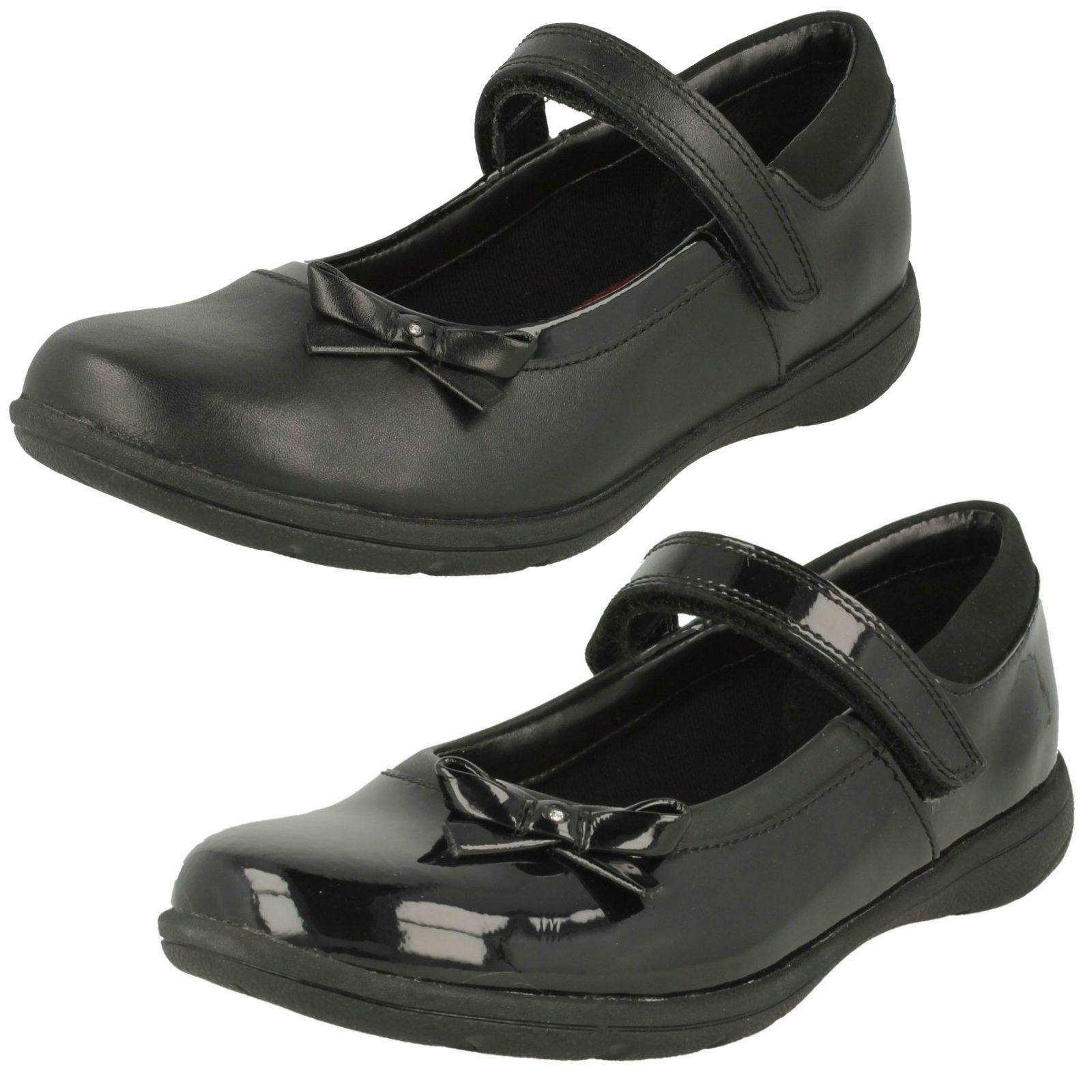 Clarks Girls Hook /& Loop Bow School Shoes /'Venture Star/'