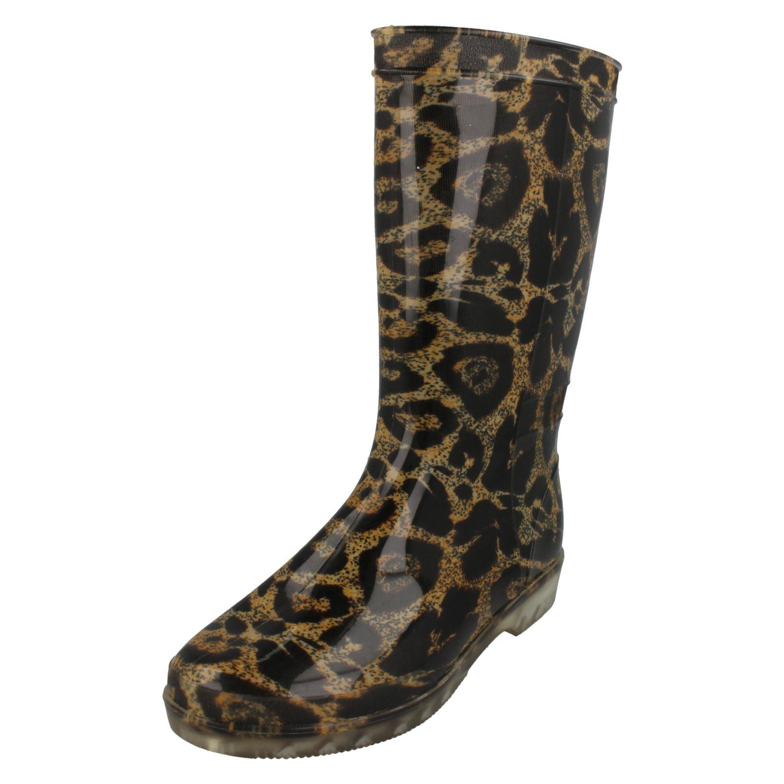 Mujer Spot On - CAÑA ALTA Estampado Leopardo Botas De Agua