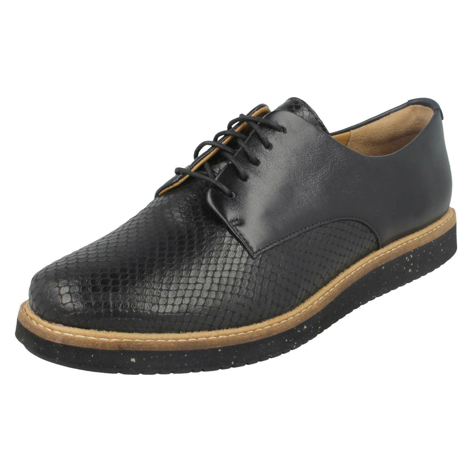 cuero de para Glick Clarks dama Darby casual Calzado negro Everyday wCnEq7H5x