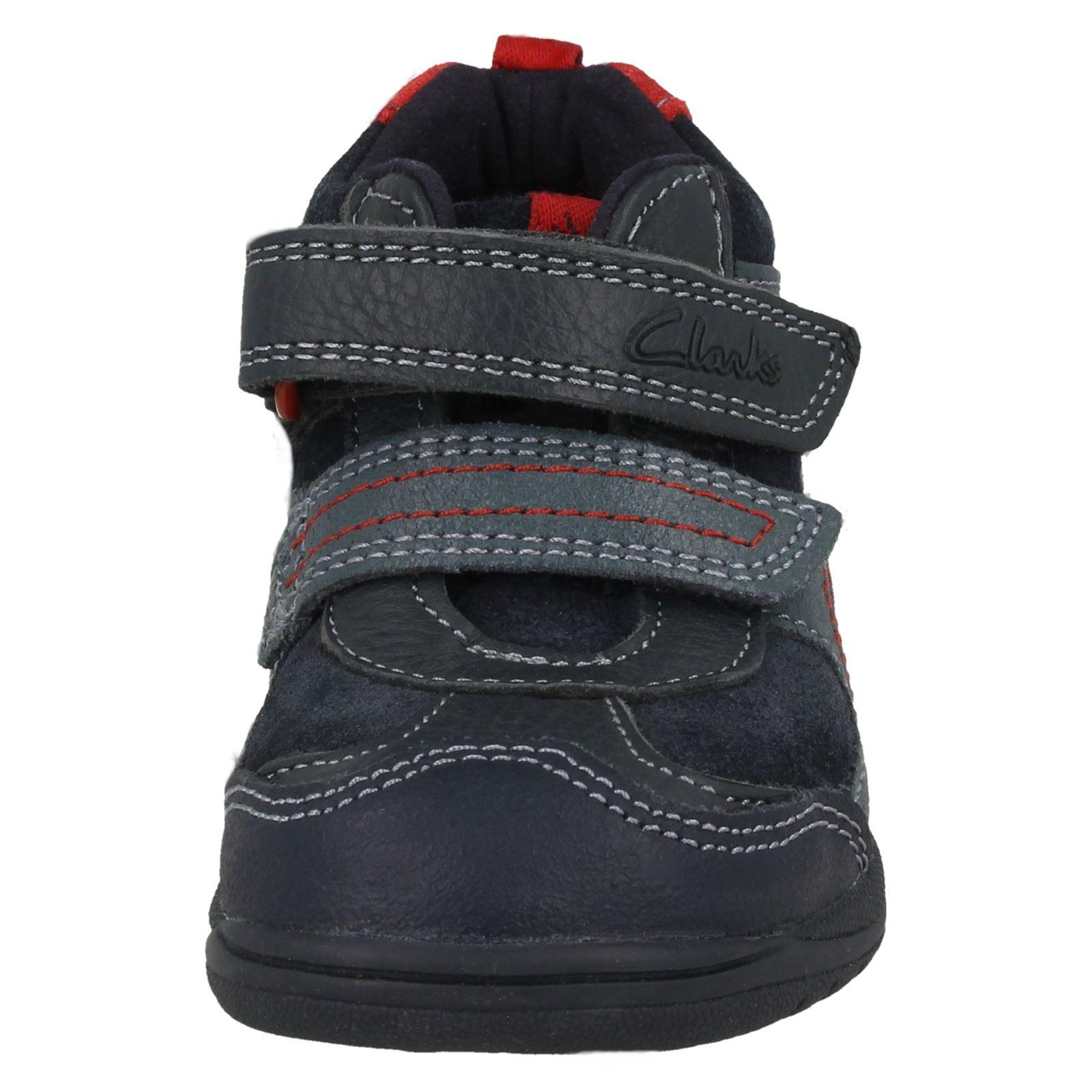 Toddler Clarks Boys Casual Leather Hook & Loop Riptape Boot - Ru Rockshi