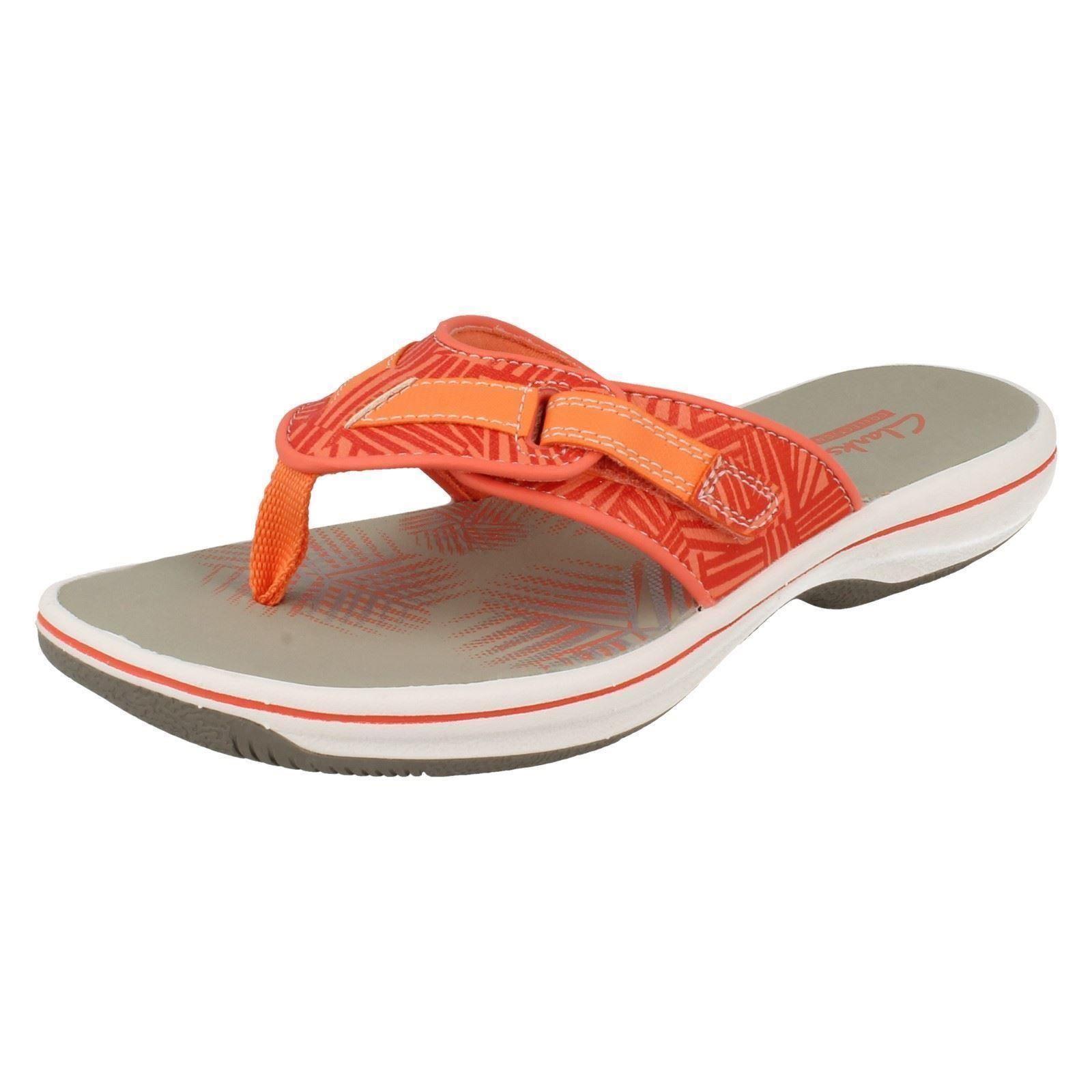 Clarks Sandalias Quade para Summer naranja Post Brinkley mujer Toe v7qwS7a