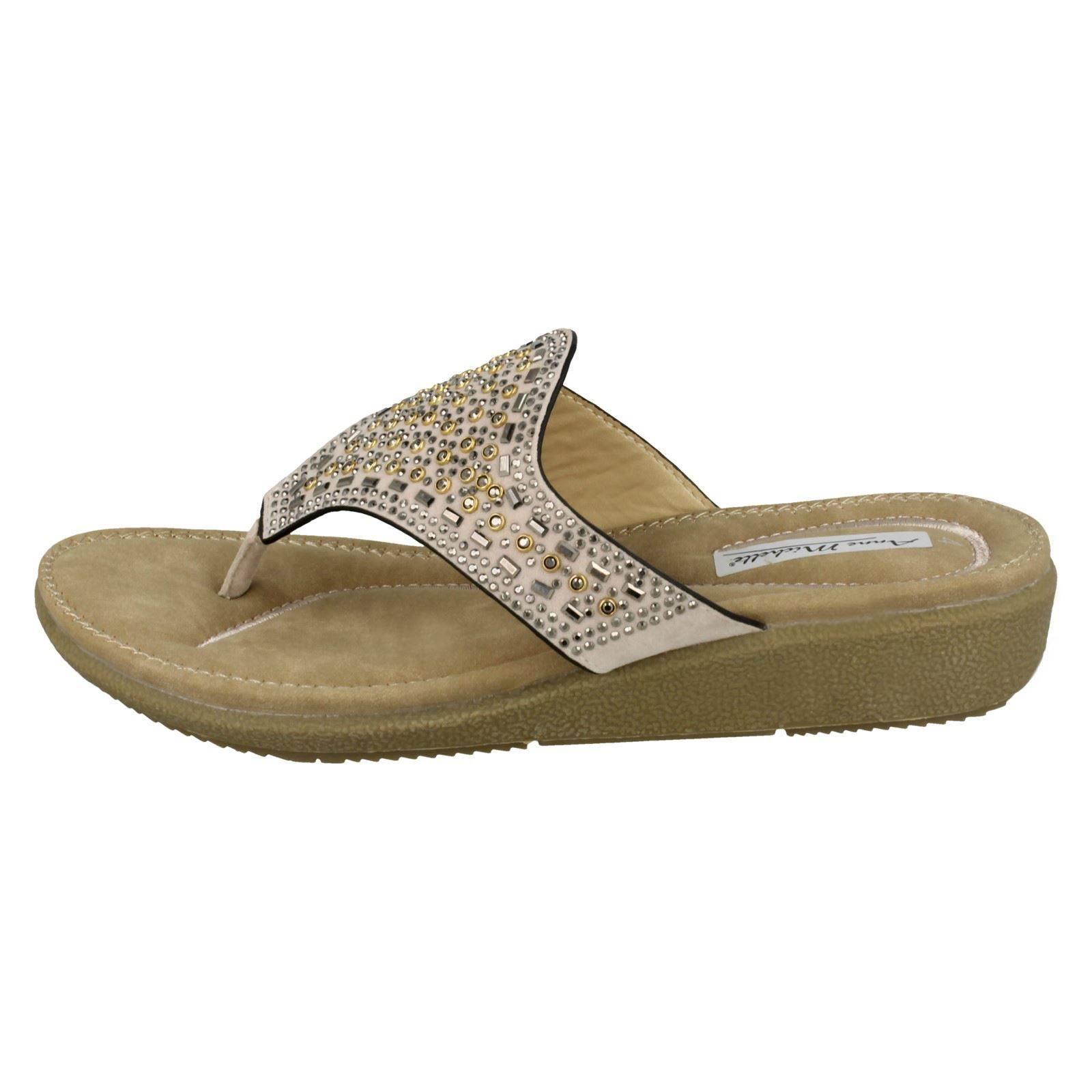 Damas Anne Michelle Embellecido Diamante Toe Post Sandalias
