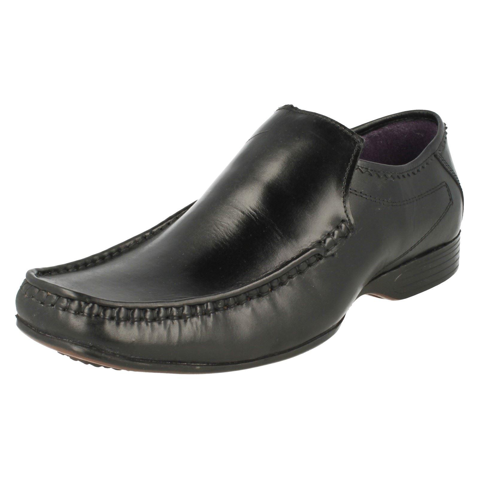 Mens Lambretta Black Leather Formal Dress Shoe Office School Loafer Shoes