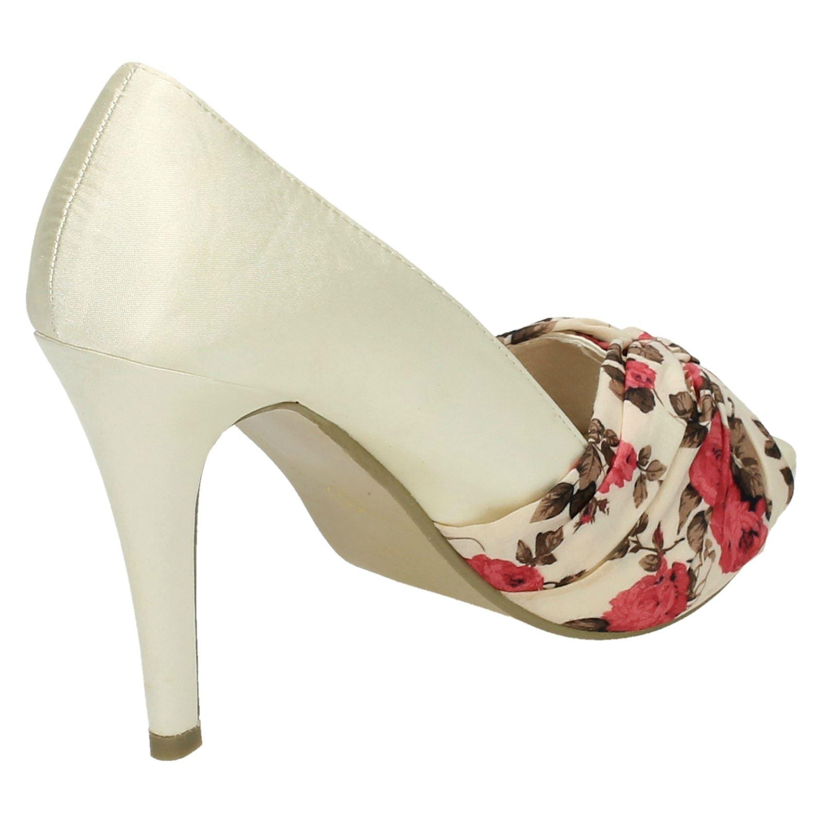 Damas Anne Michelle Floral Tribunal Zapatos Tacón Alto Punta Abierta-L2968