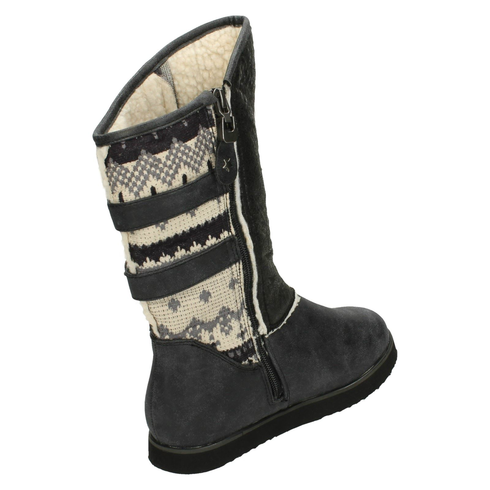 Girls Spot On Synthetic Boots With Fleece Trim