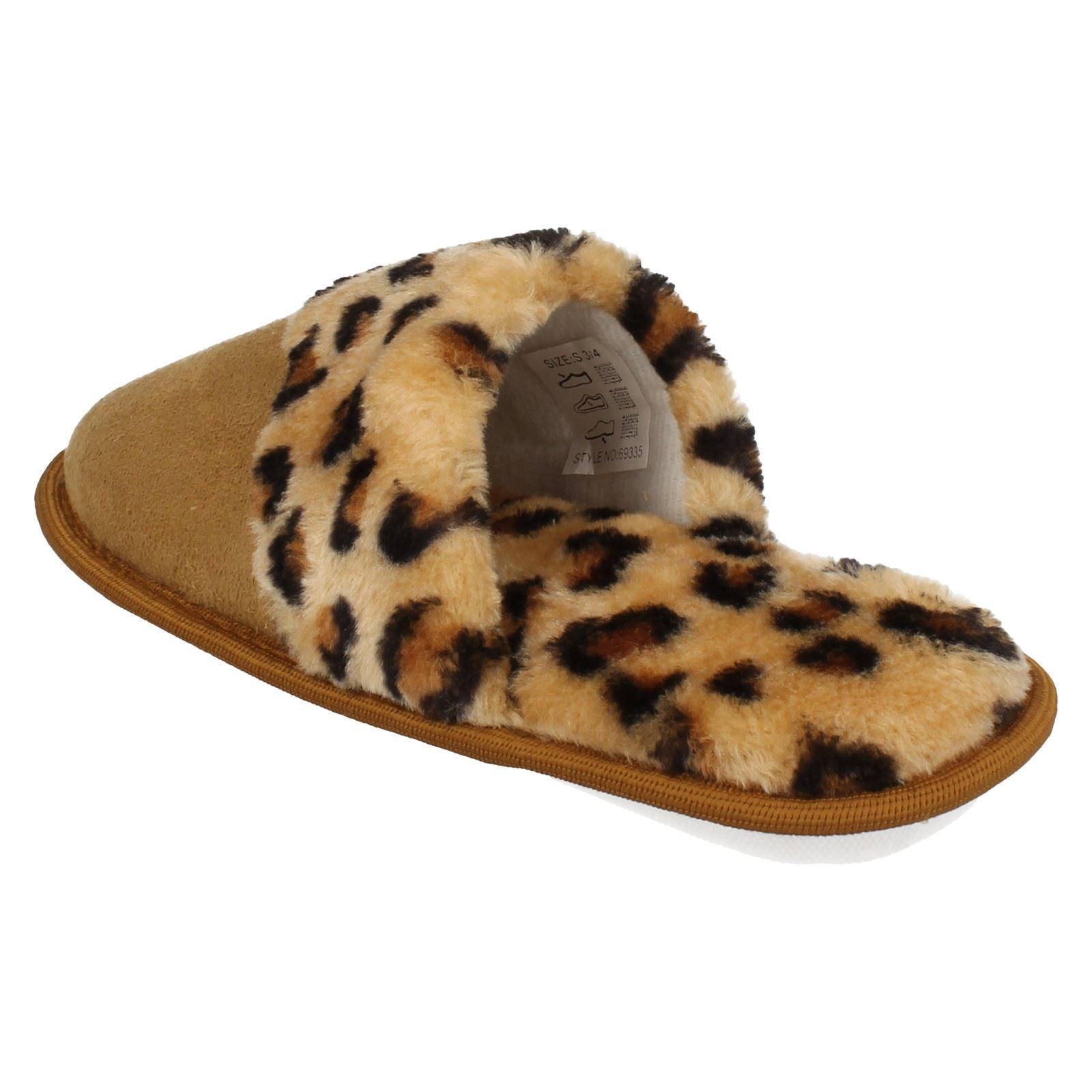 Señoras punto en Estampado de Leopardo Zapatillas Mulas
