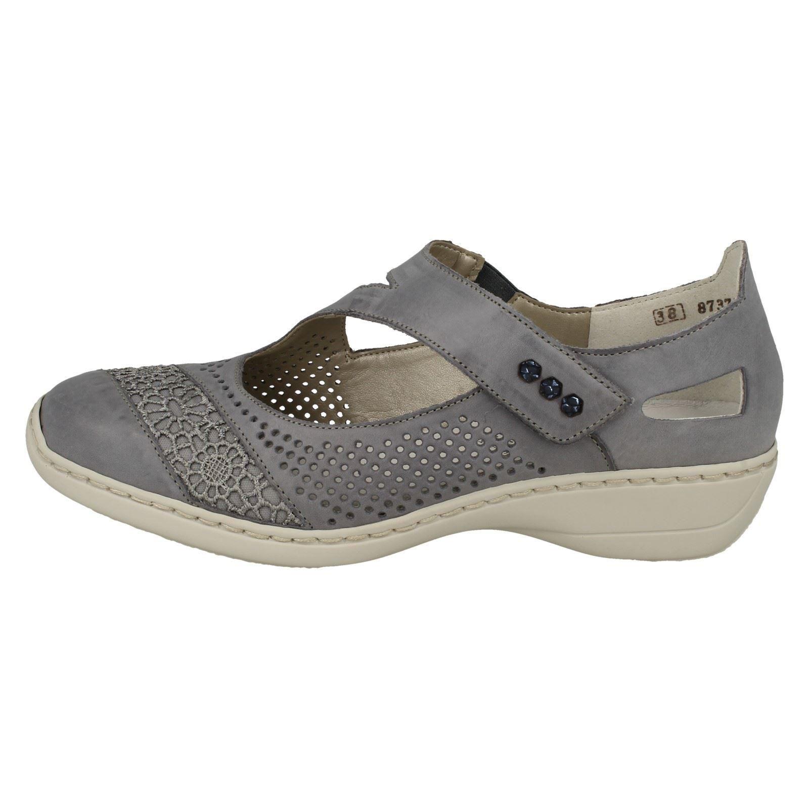 Casual Chaussures en Rieker bleu 41346 Flat HookLoop cuir reBQdxWoC