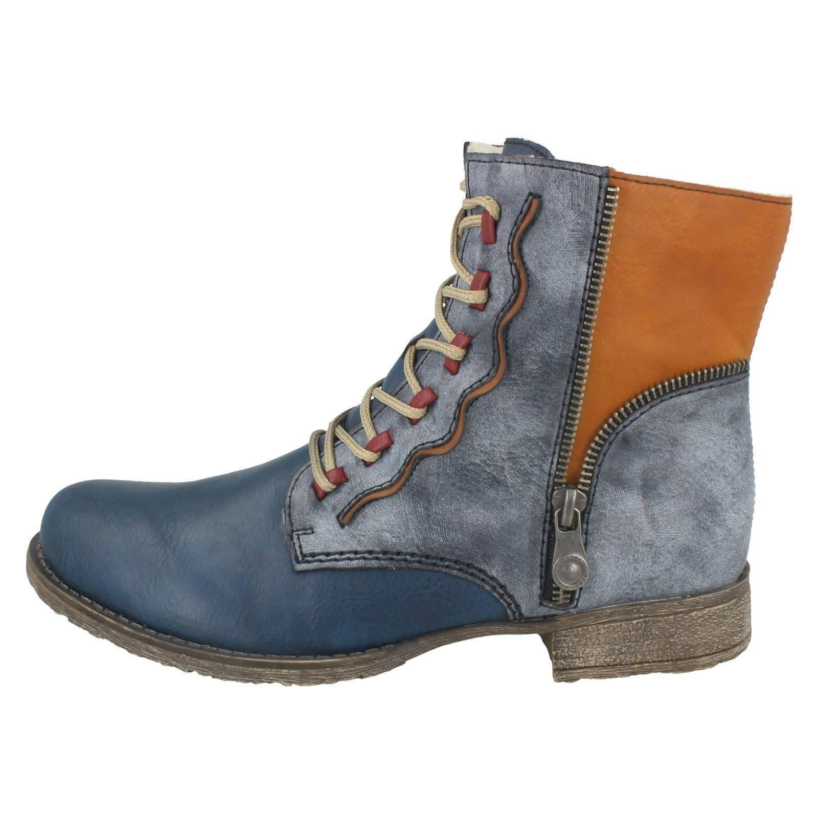Combi Boots Up Rieker Ladies Blue 70805 blu Lace pgqYqwxv