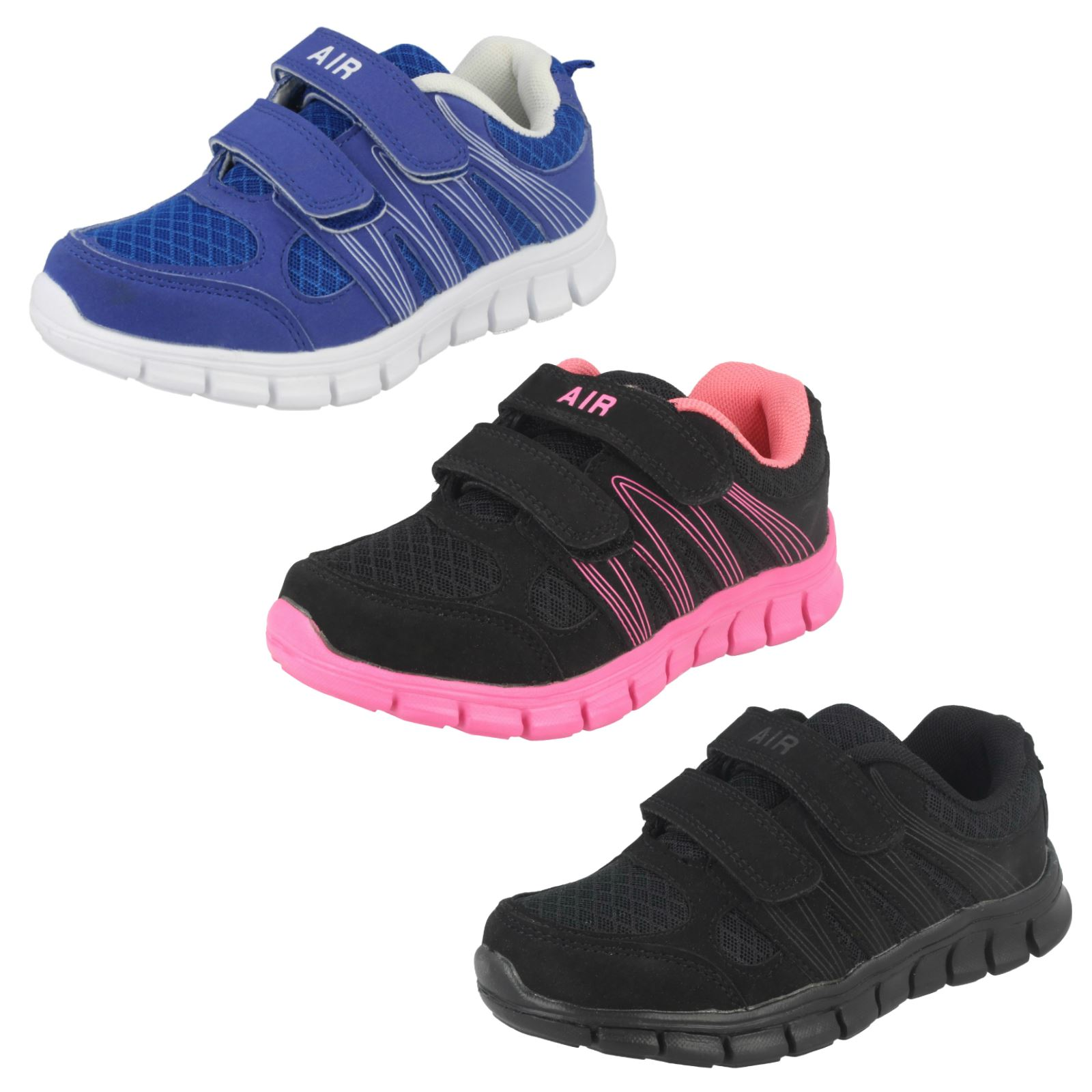 6e2170fb34cf Childrens Boys Girls Air Tech Textile Hook   Loop Fastening Trainers -   Sprint