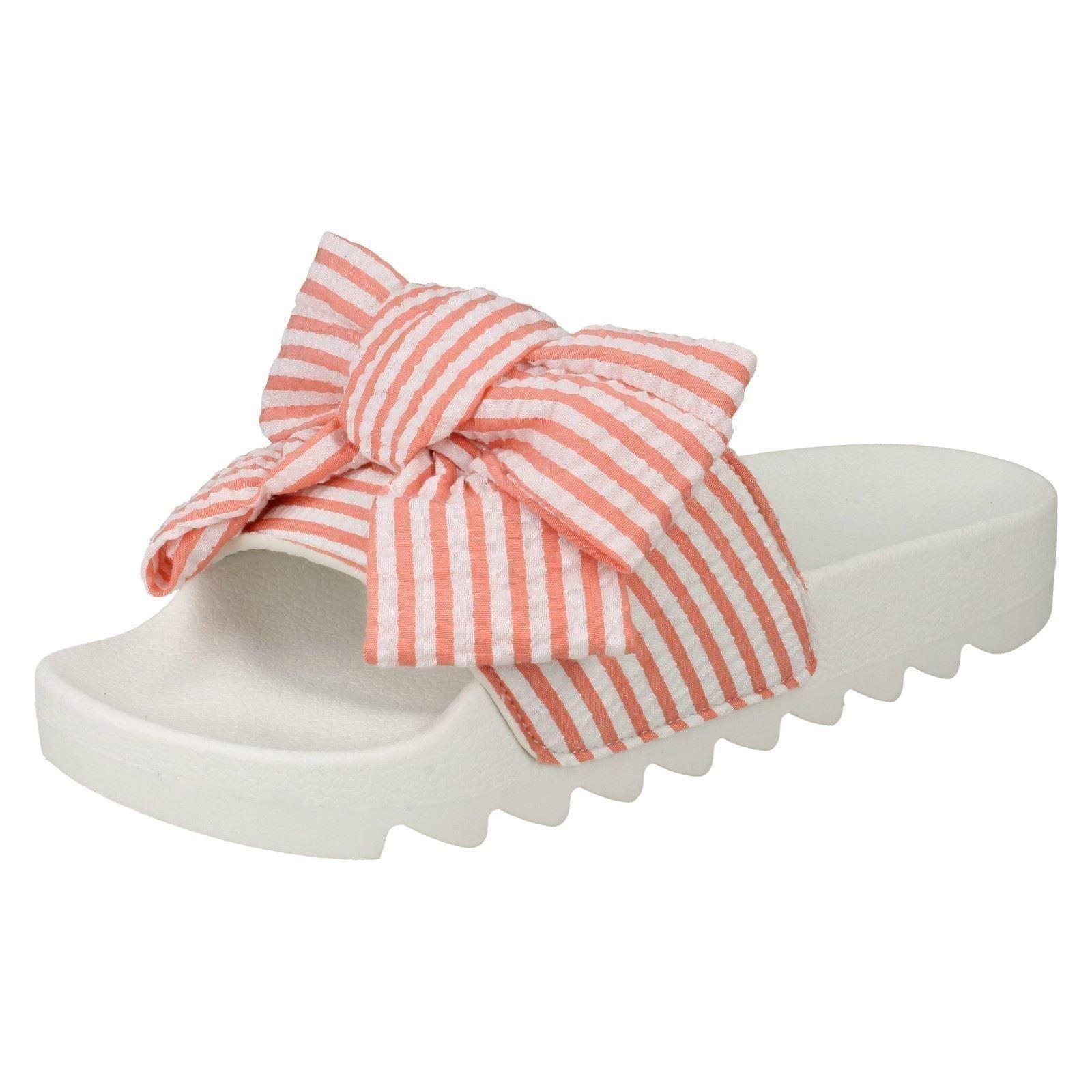 Spot On Ladies Striped Bow Vamp Summer Sliders