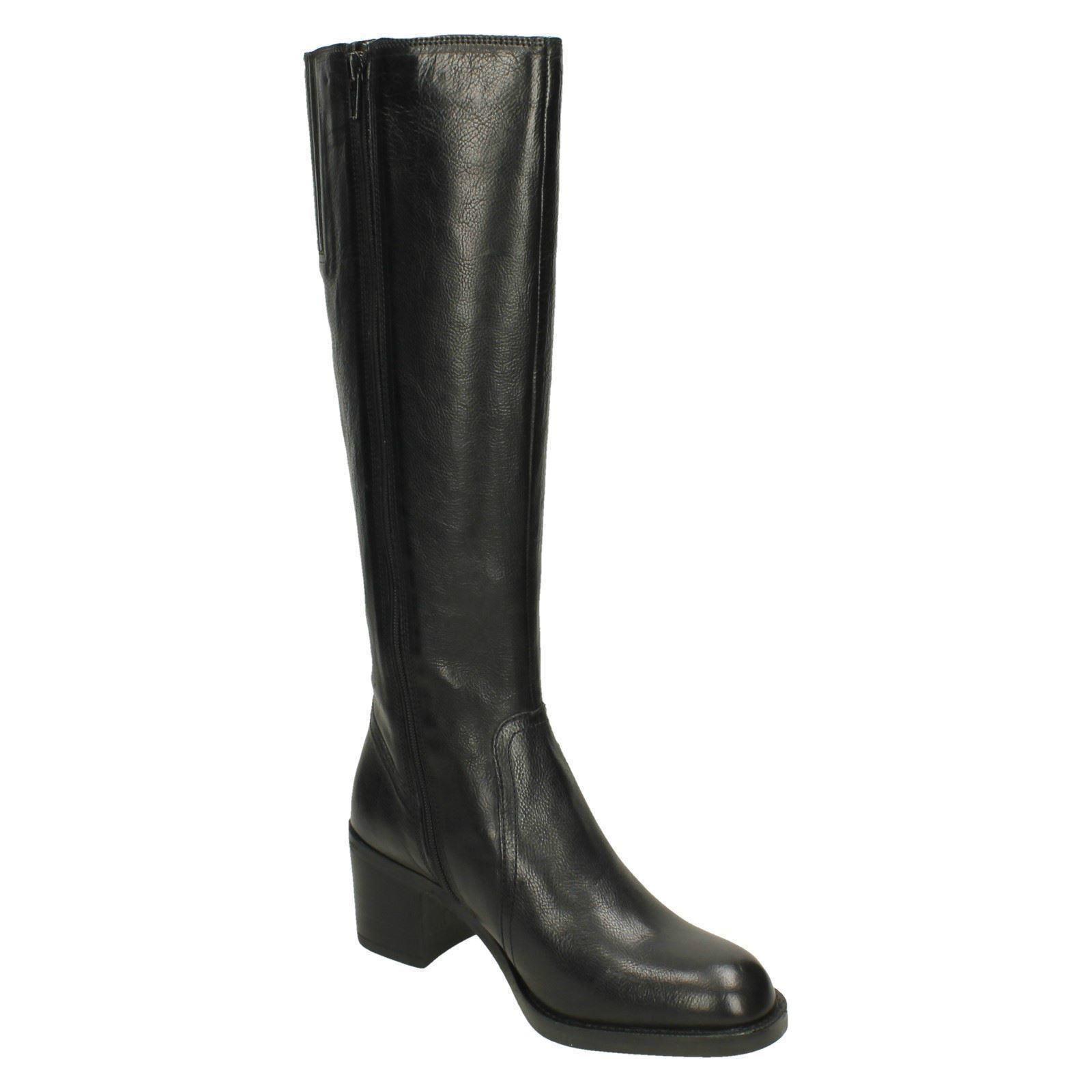 Ladies Clarks Stylish Heeled Heeled Heeled Knee High Boots Mascarpone Ela 6ee627