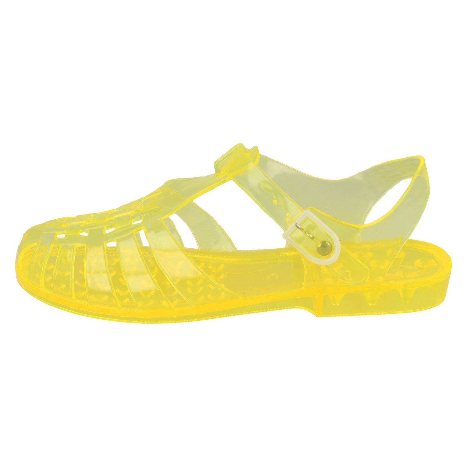2632b81c053d Ladies Spot on 90 s Retro Jelly Buckle Sandals F0714 Yellow UK 4 for ...